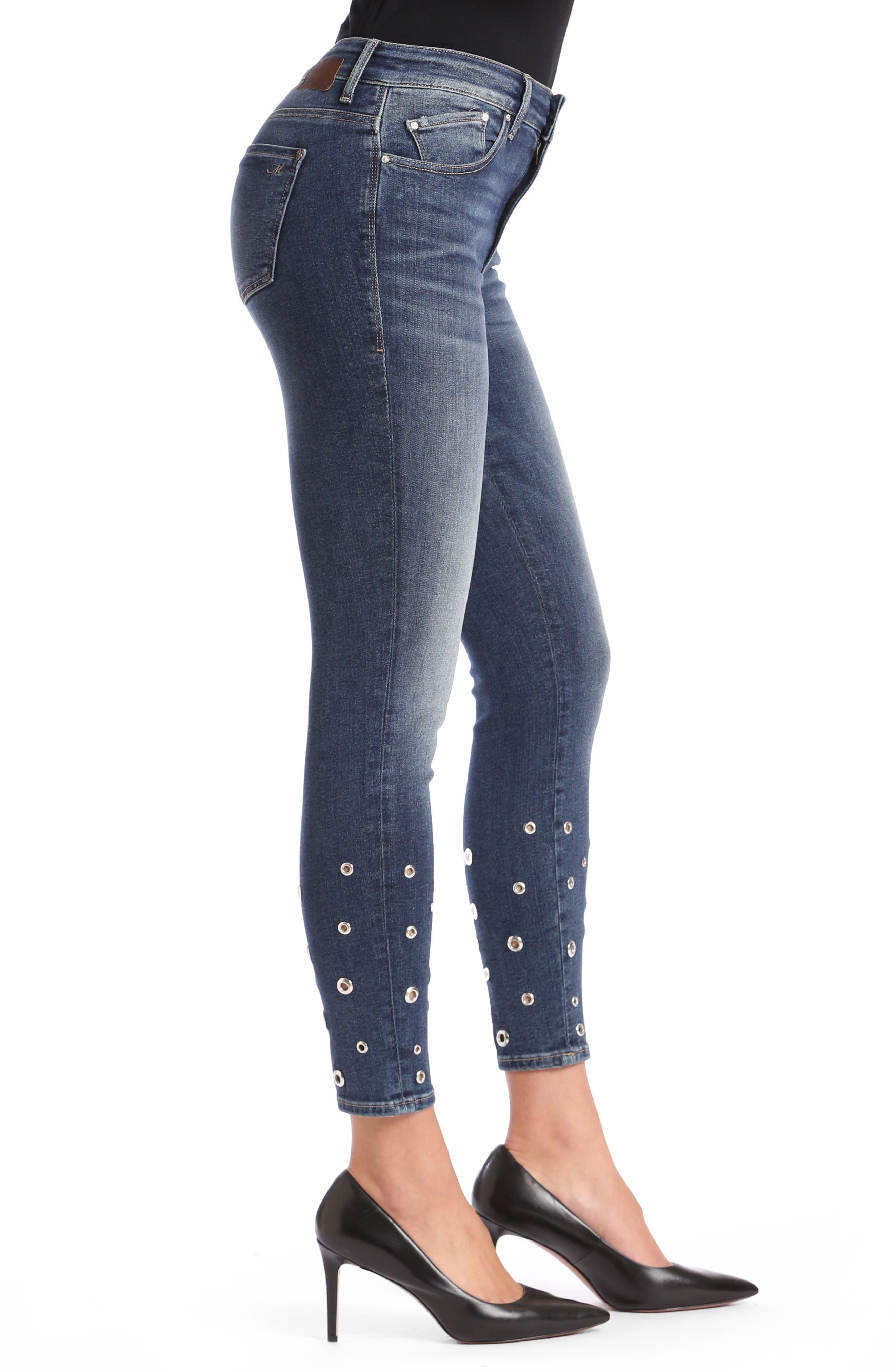 Mavi Tess Super Skinny Jeans,                             Alternate thumbnail 4, color,                             Shaded Eyelet