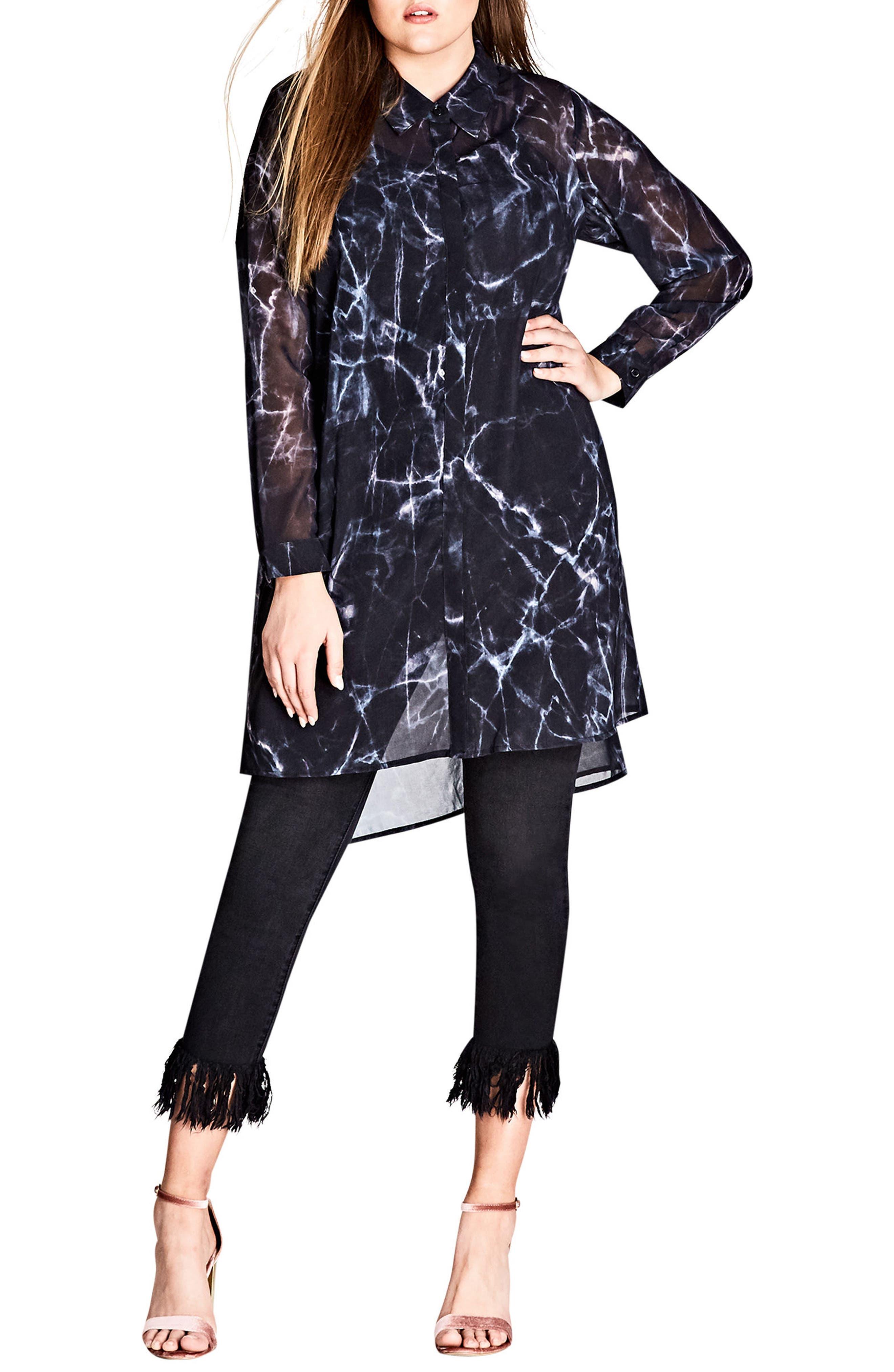 Main Image - City Chic Marble Print Tunic Shirt (Plus Size)