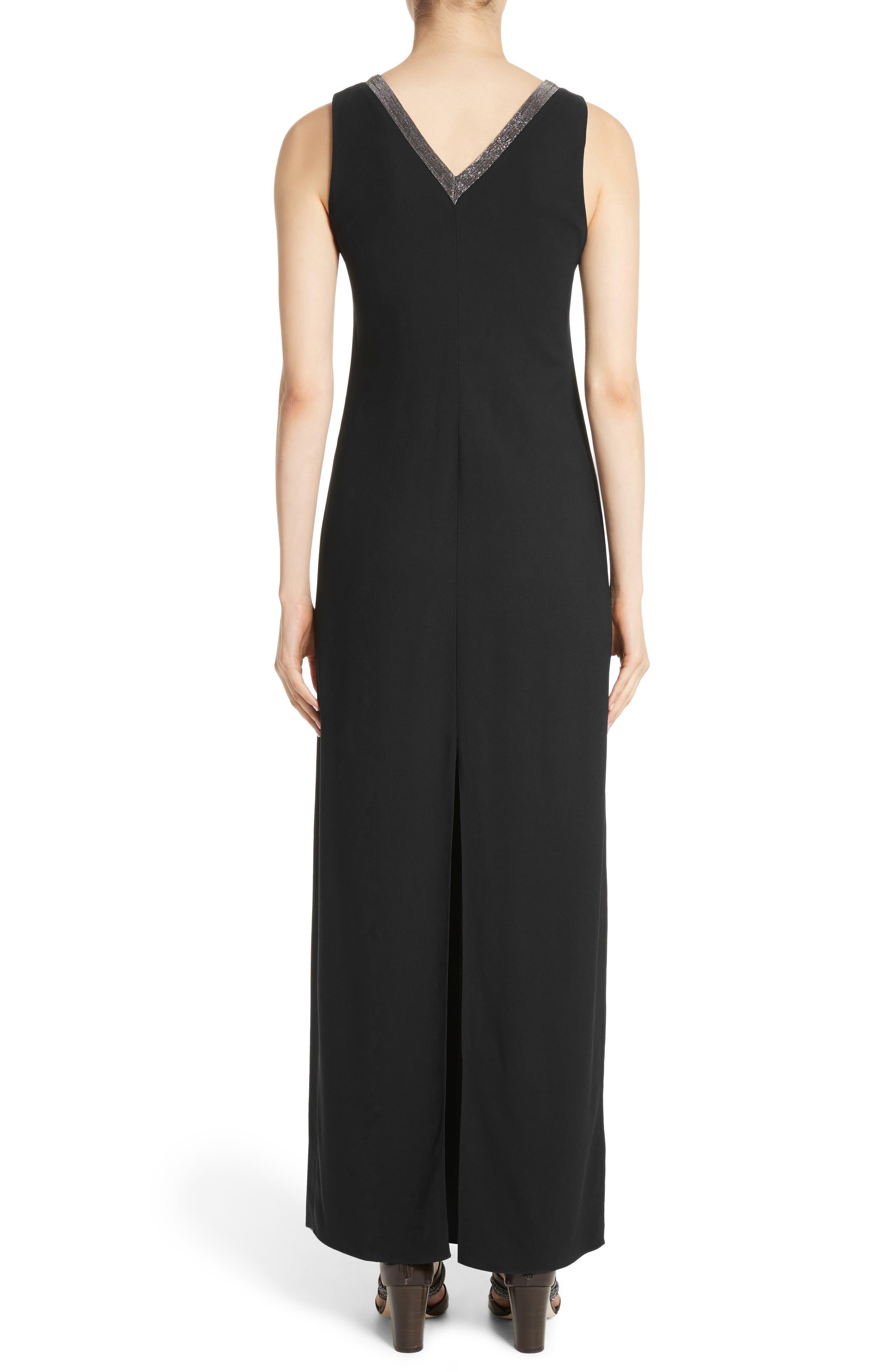 Beaded Maxi Dress,                             Alternate thumbnail 2, color,                             Black