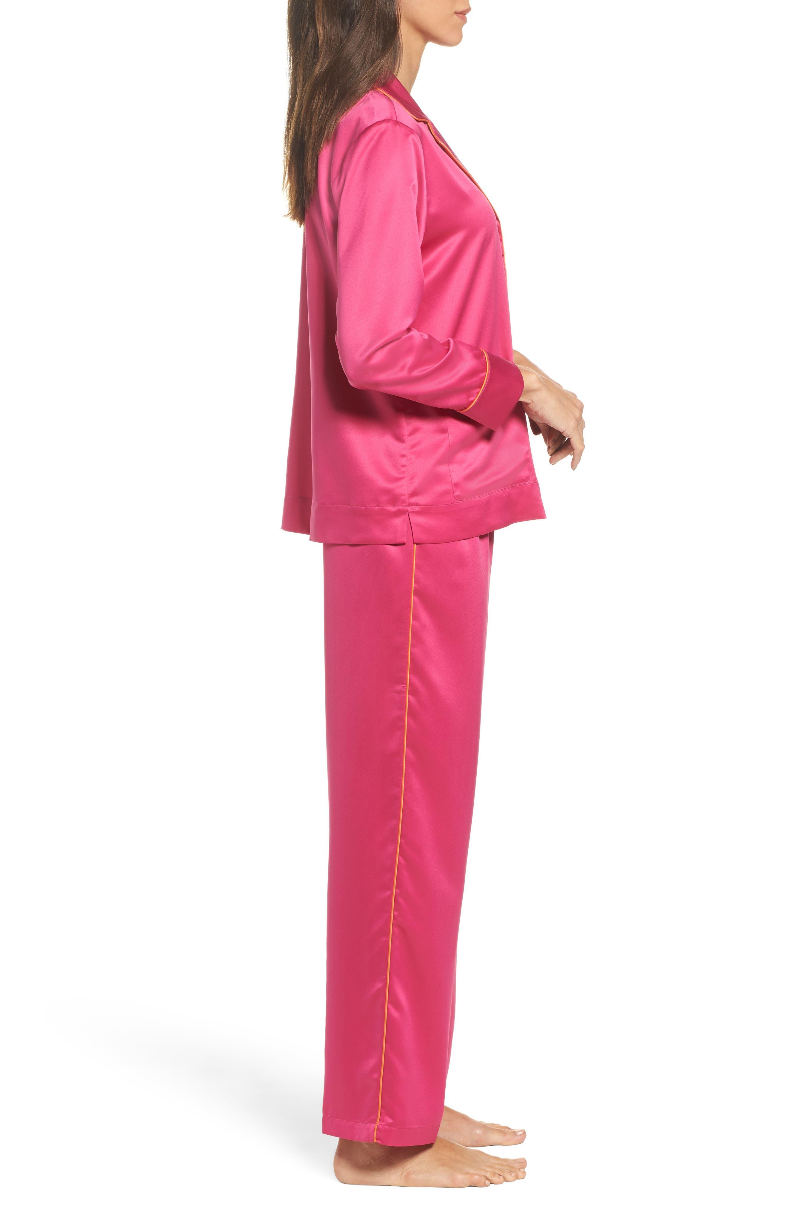 Satin Pajamas,                             Alternate thumbnail 3, color,                             Pink