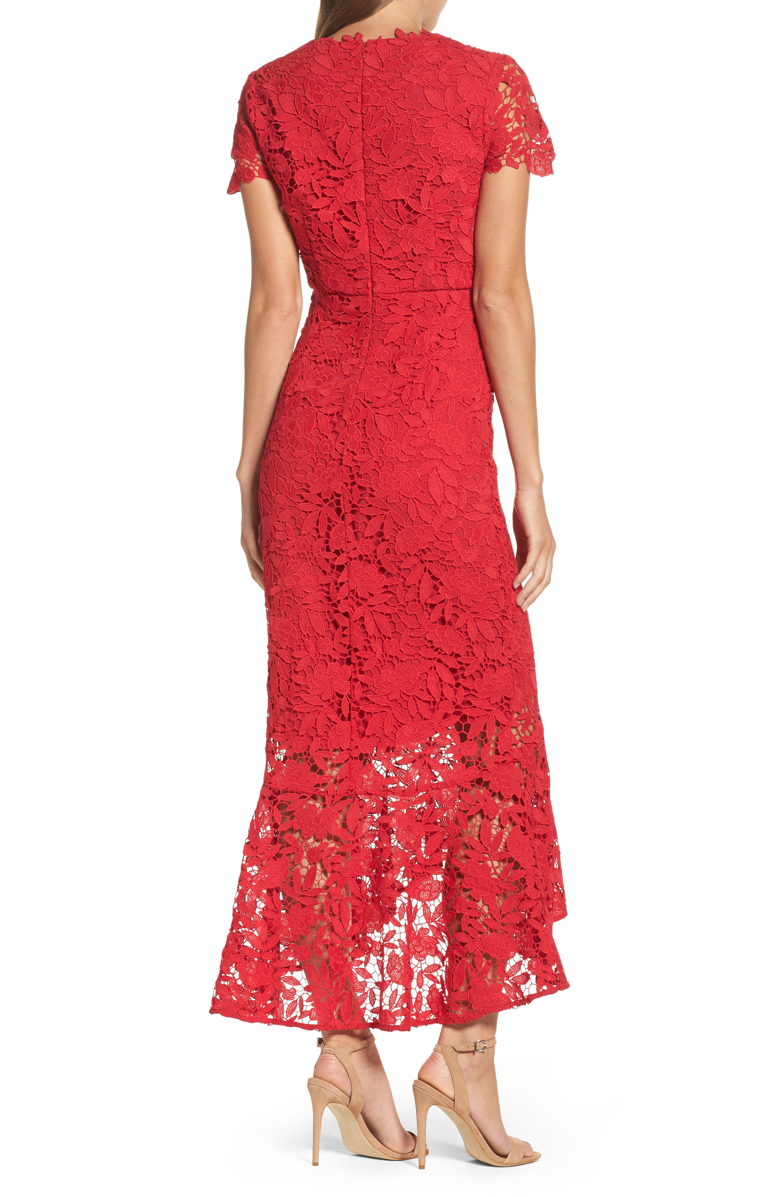 Floral Guipure High/Low Gown,                             Alternate thumbnail 2, color,                             Ruby