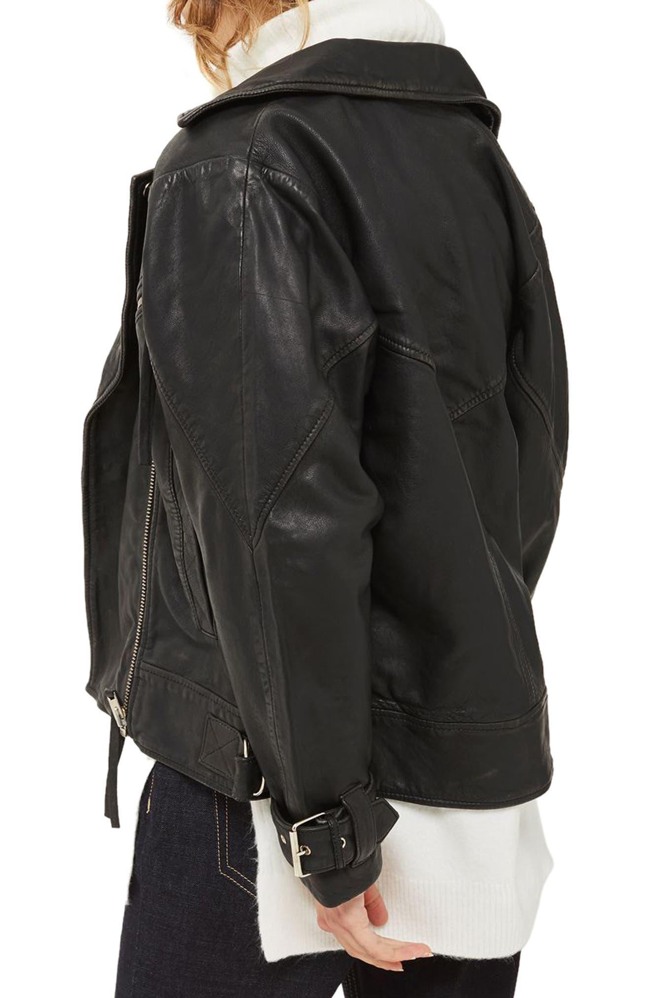 Teddy Oversize Leather Biker Jacket,                             Alternate thumbnail 3, color,                             Black