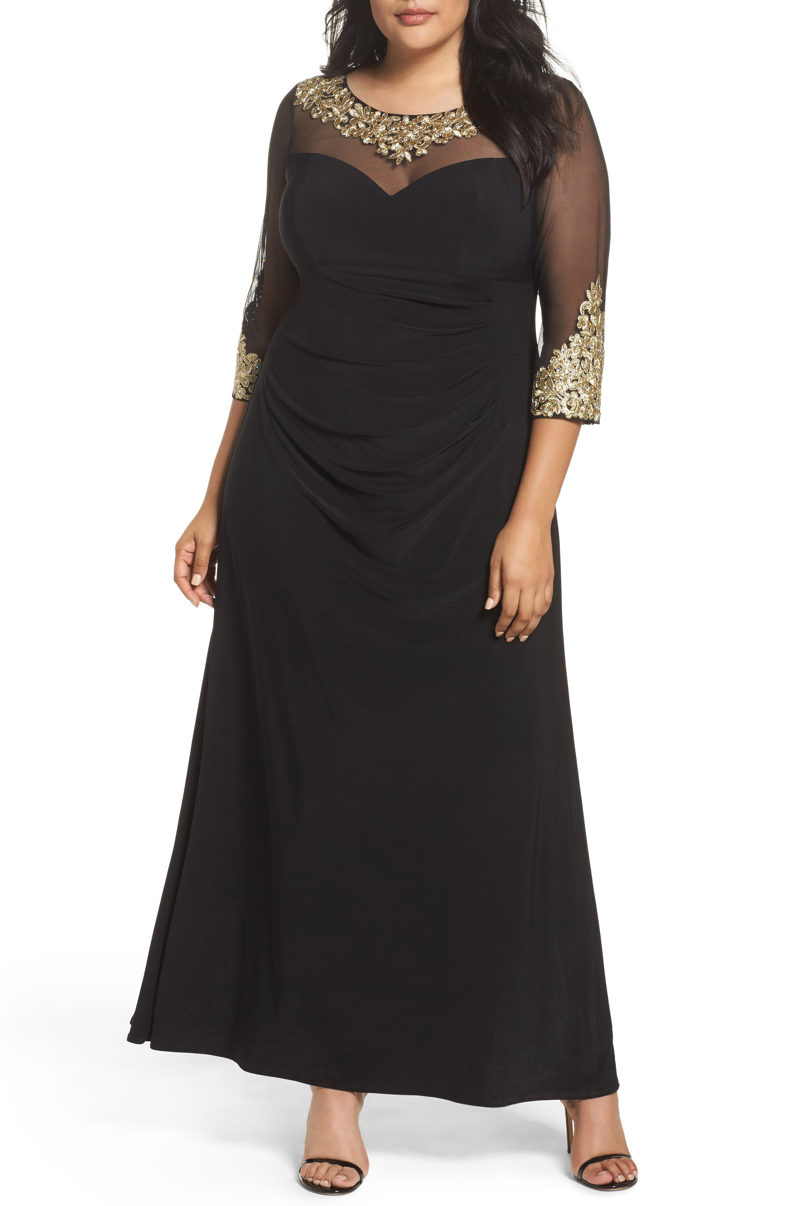 Embroidered A-Line Gown,                             Main thumbnail 1, color,                             Black/ Gold
