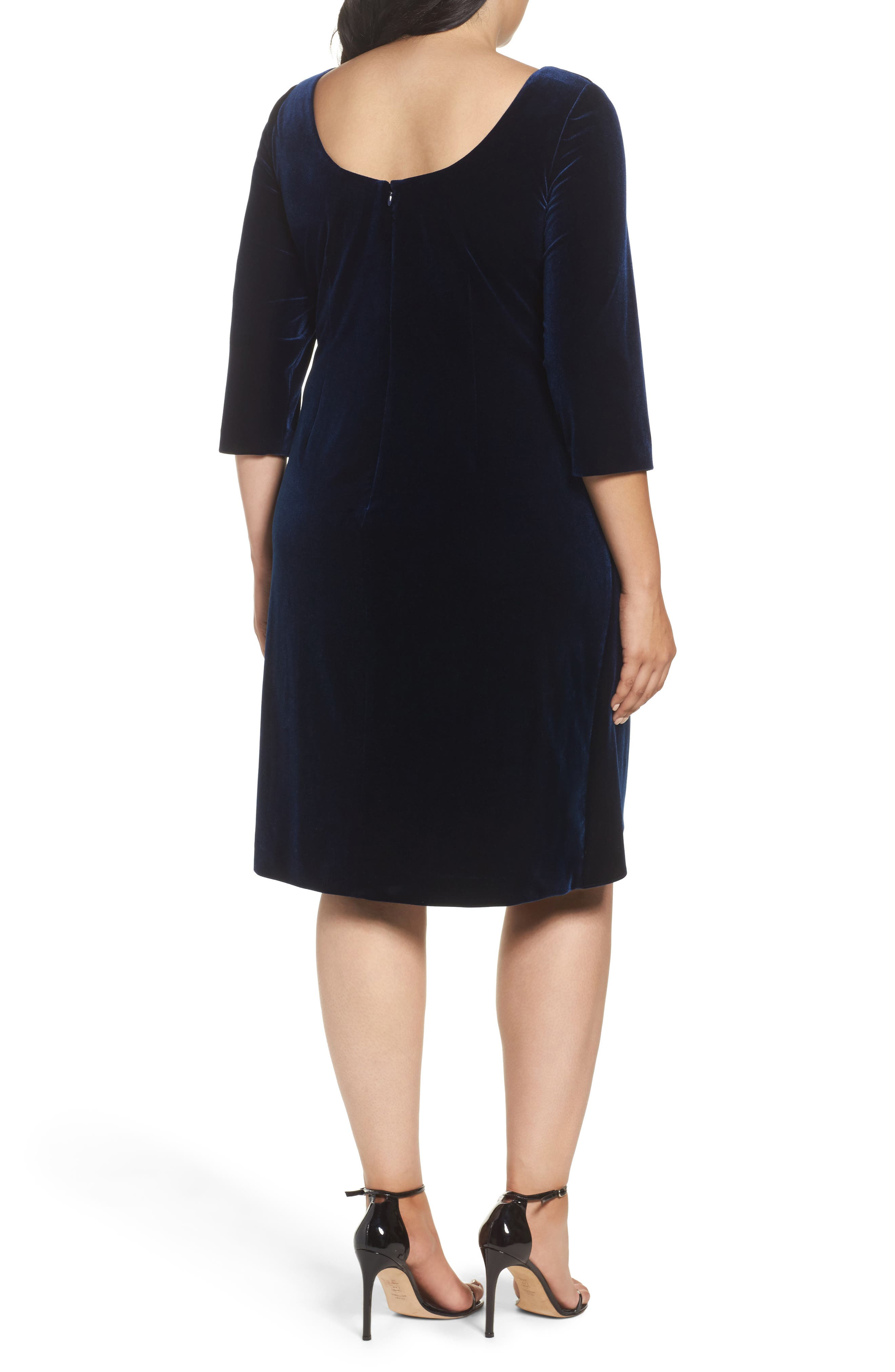 Alternate Image 2  - Alex Evenings Embellished Faux Wrap Velvet Dress (Plus Size)