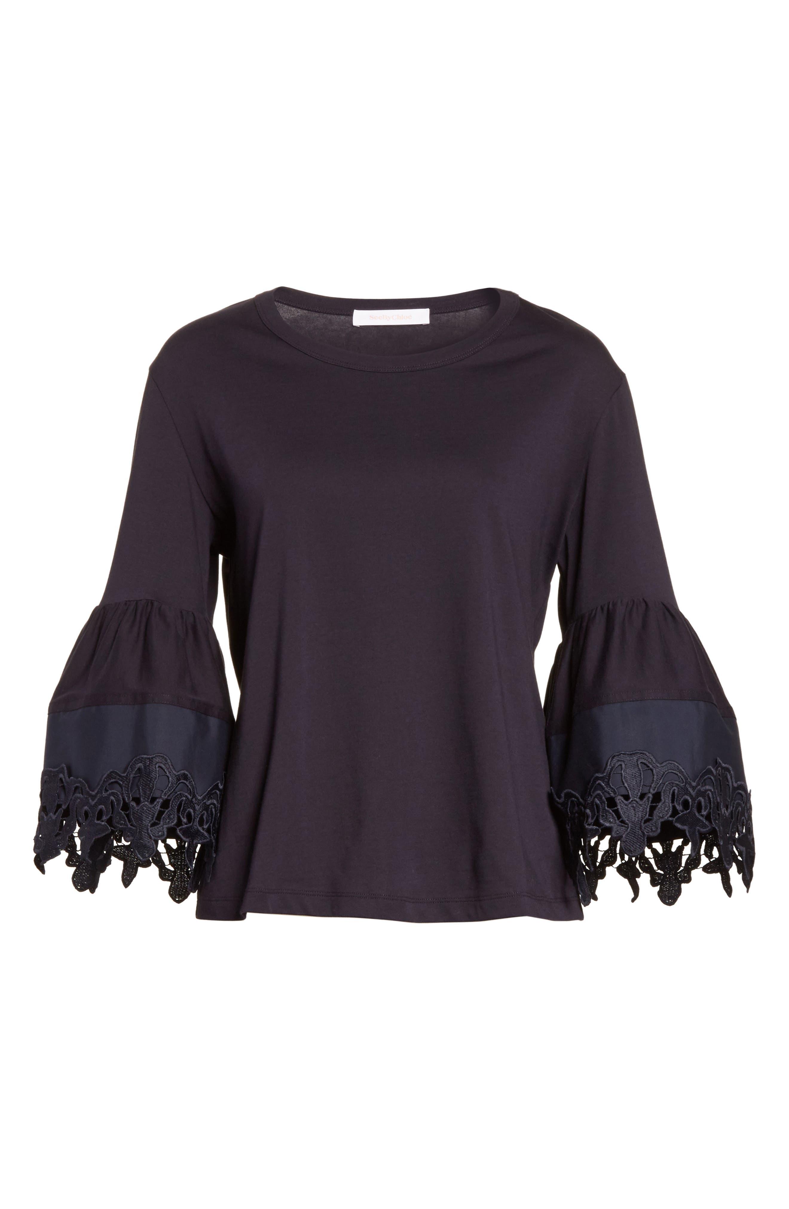 Lace Trim Bell Sleeve Top,                             Alternate thumbnail 6, color,                             Black