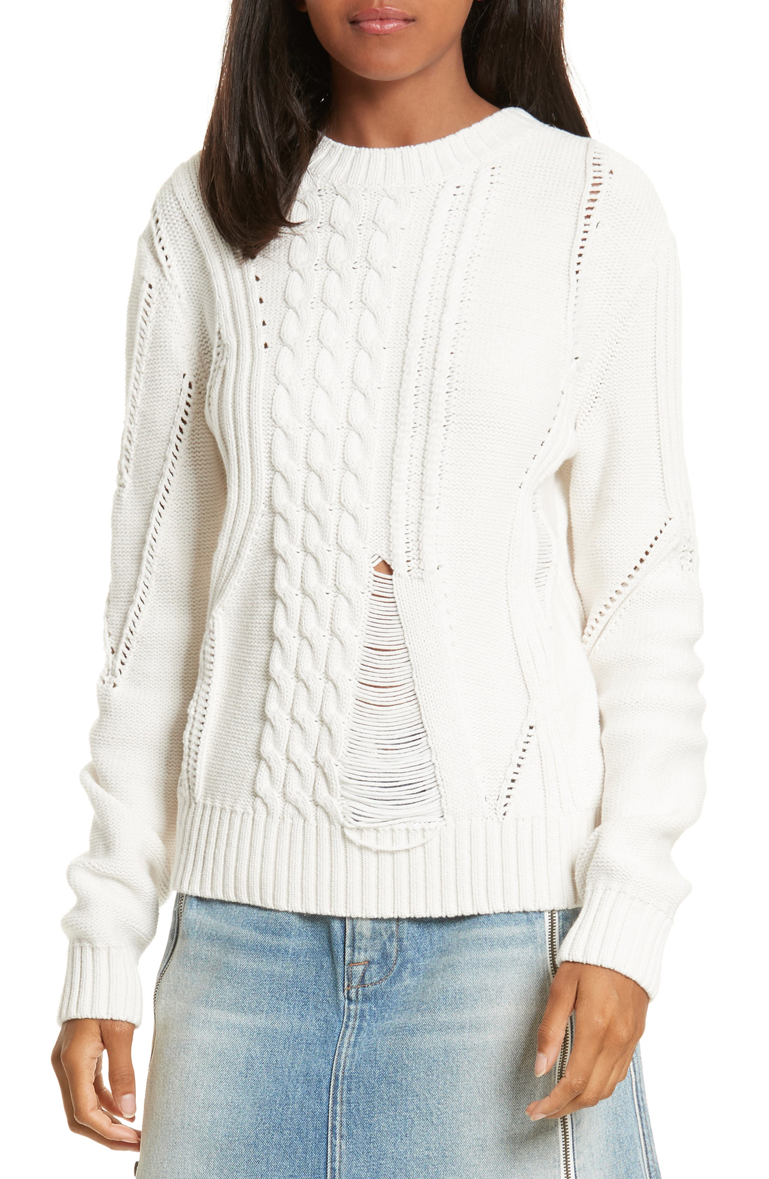 Cable Knit Sweater,                             Main thumbnail 1, color,                             Off White