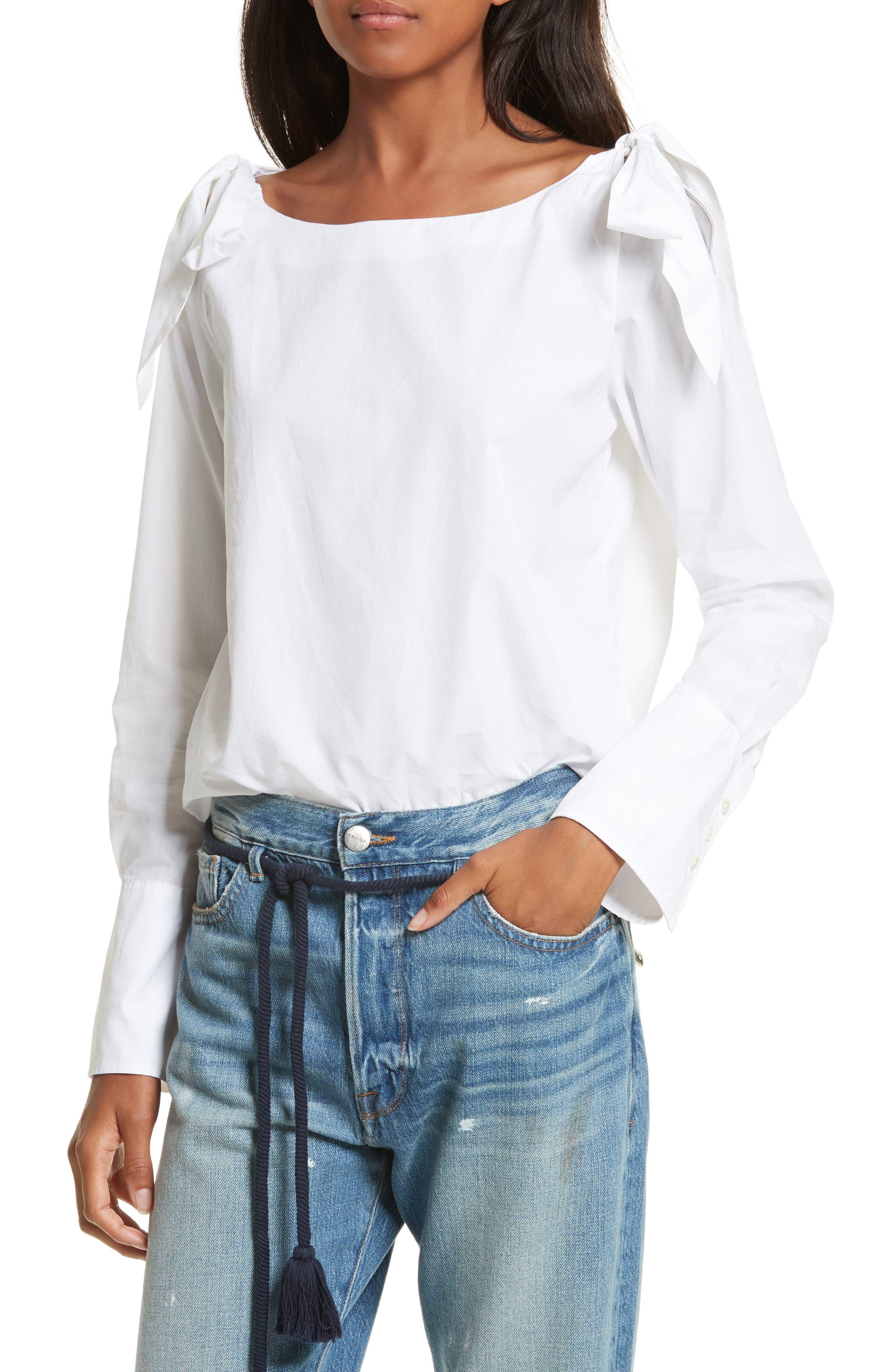 Alternate Image 5  - FRAME Bow Cold Shoulder Cotton Blouse