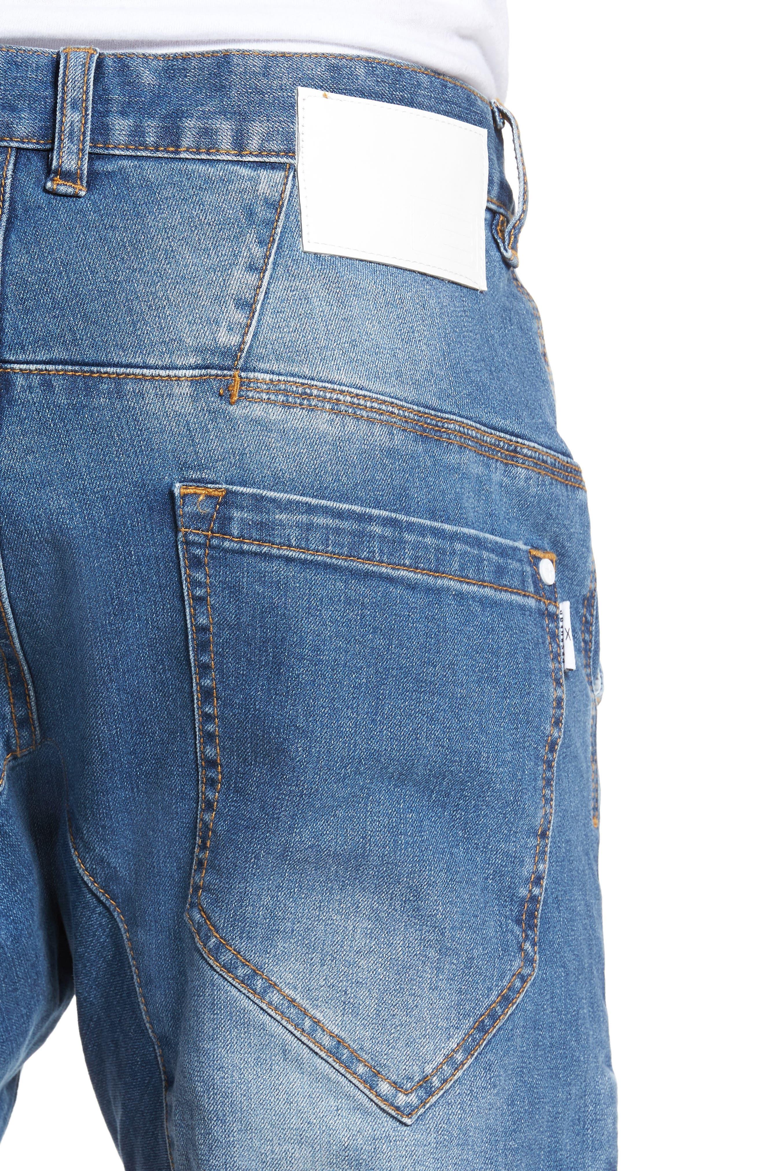 Flight Skinny Denim Jogger Pants,                             Alternate thumbnail 4, color,                             Lincoln Blue