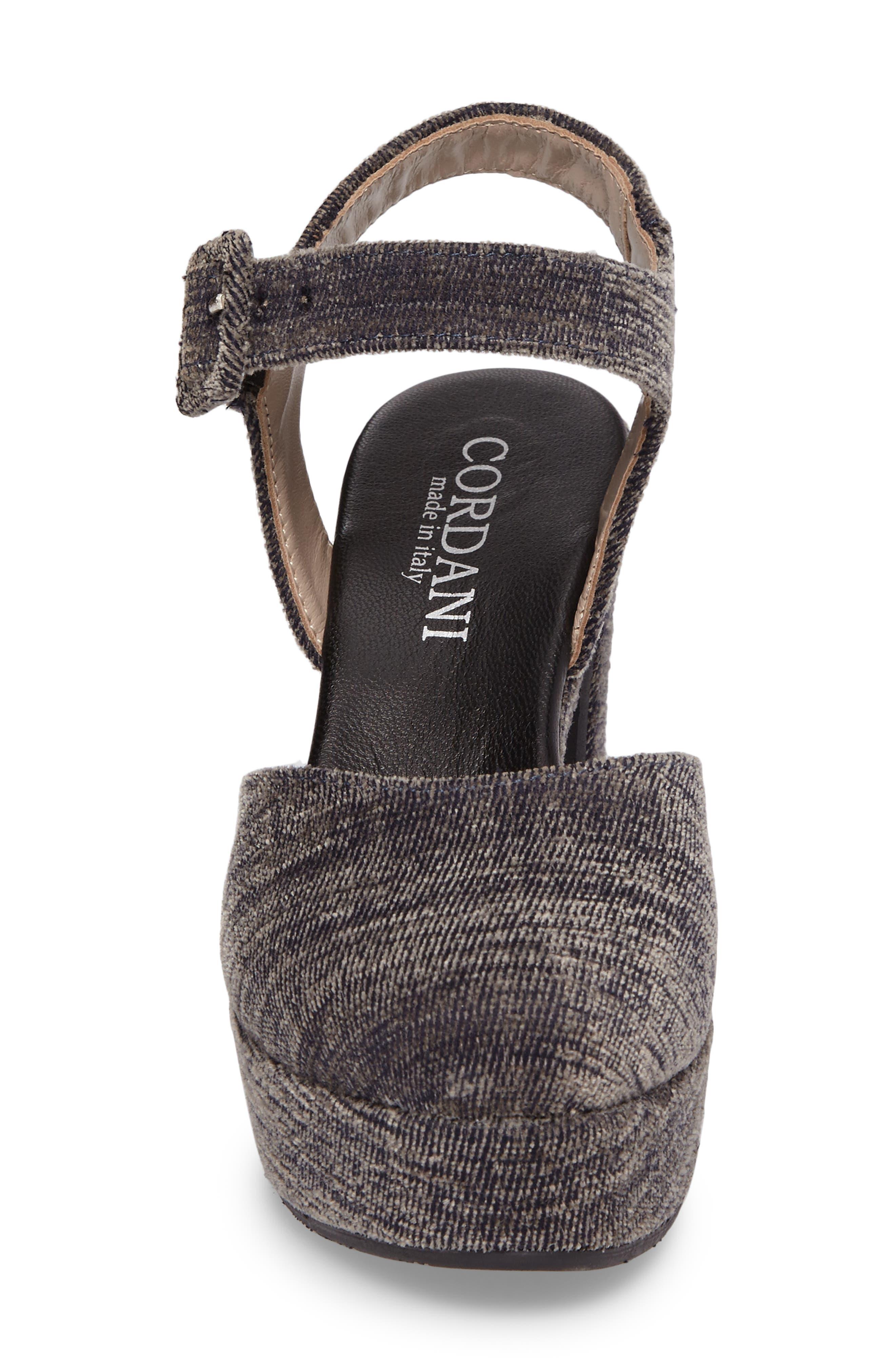 Torin Ankle Strap Platform Pump,                             Alternate thumbnail 4, color,                             Grey Crushed Velvet