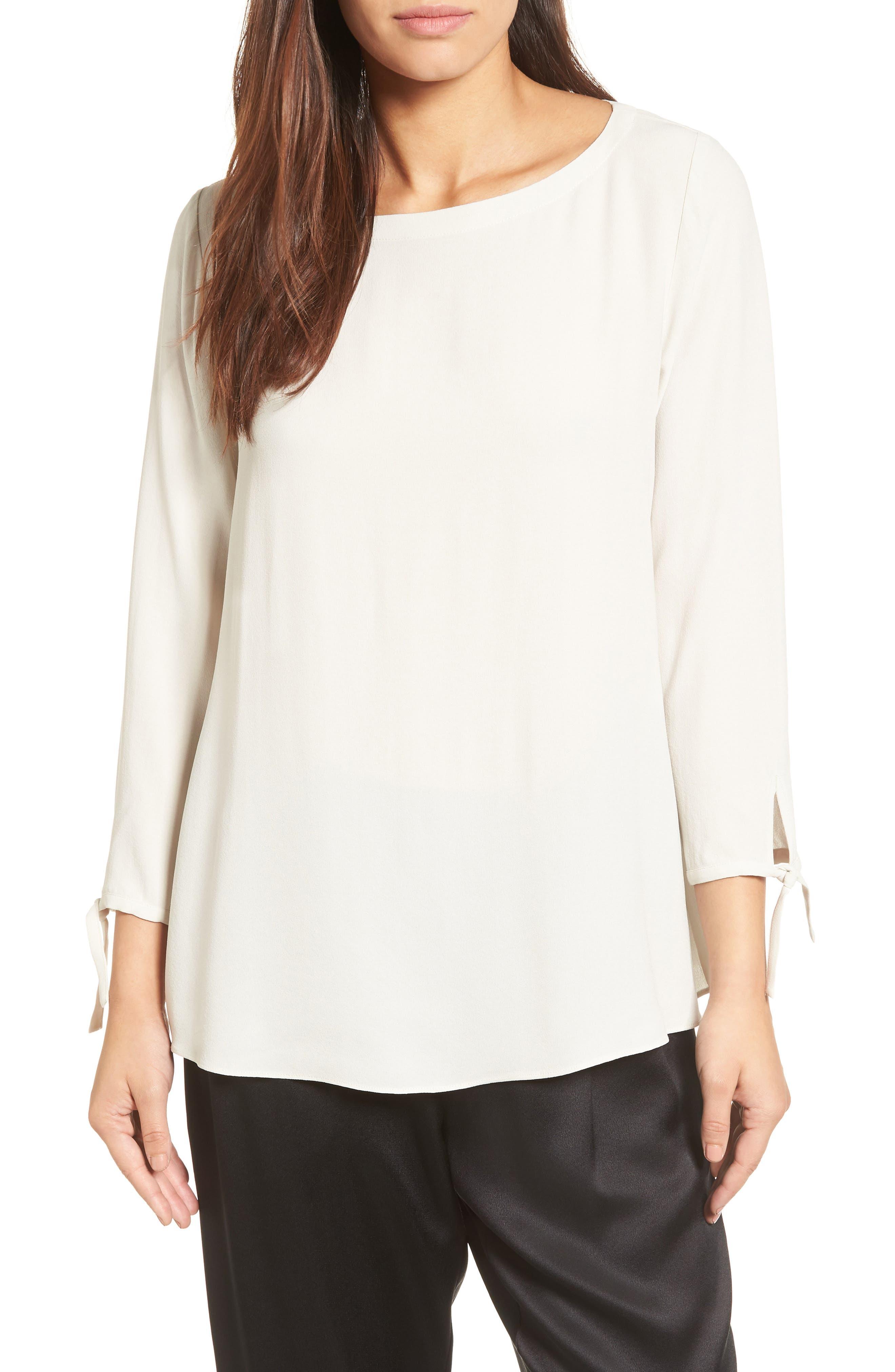 Eileen Fisher Silk Tie Sleeve Blouse (Regular & Petite)