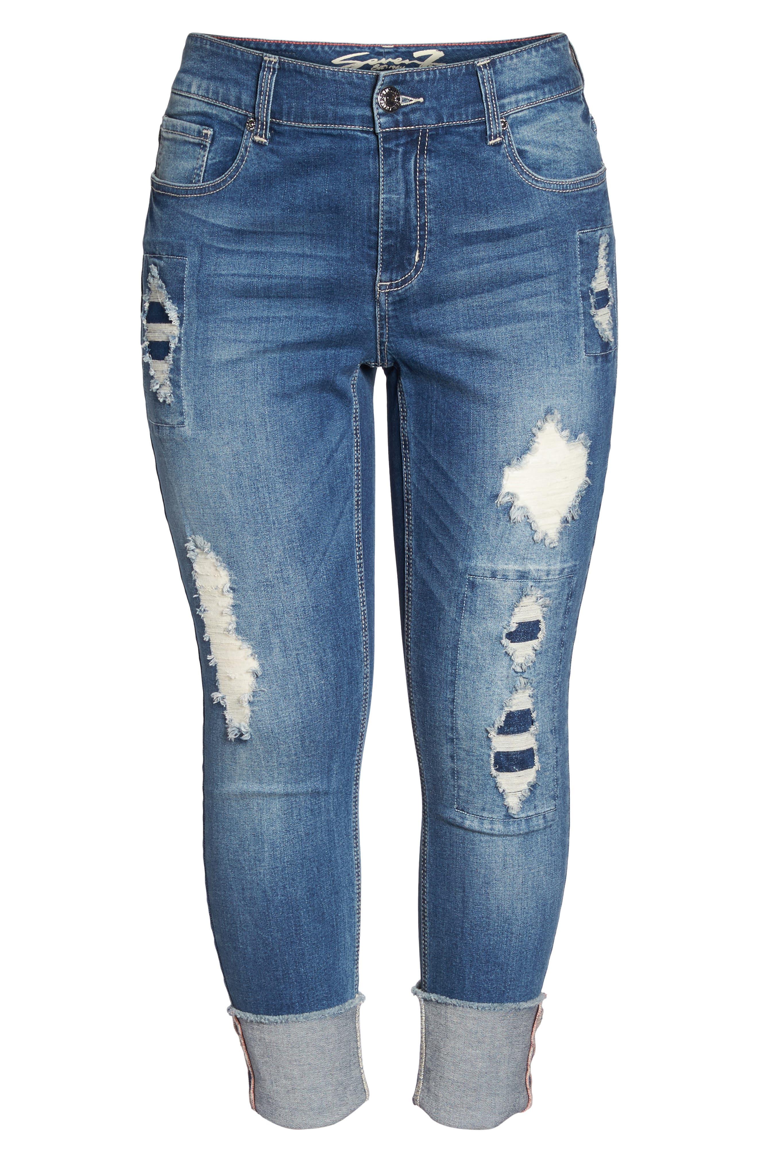 Alternate Image 6  - Seven7 Distressed Slim Raw Hem Cuffed Jeans (Concorde) (Plus Size)