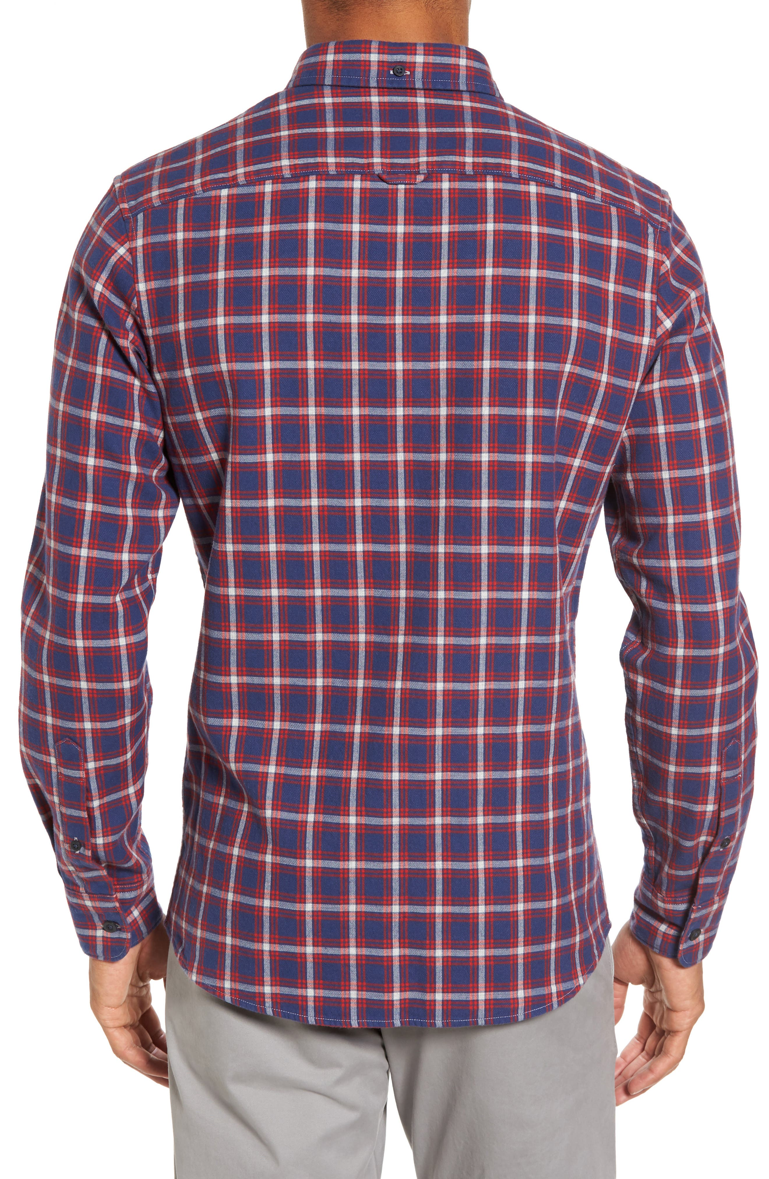 Trim Fit Duofold Check Sport Shirt,                             Alternate thumbnail 2, color,                             Navy Iris Red Plaid Duofold