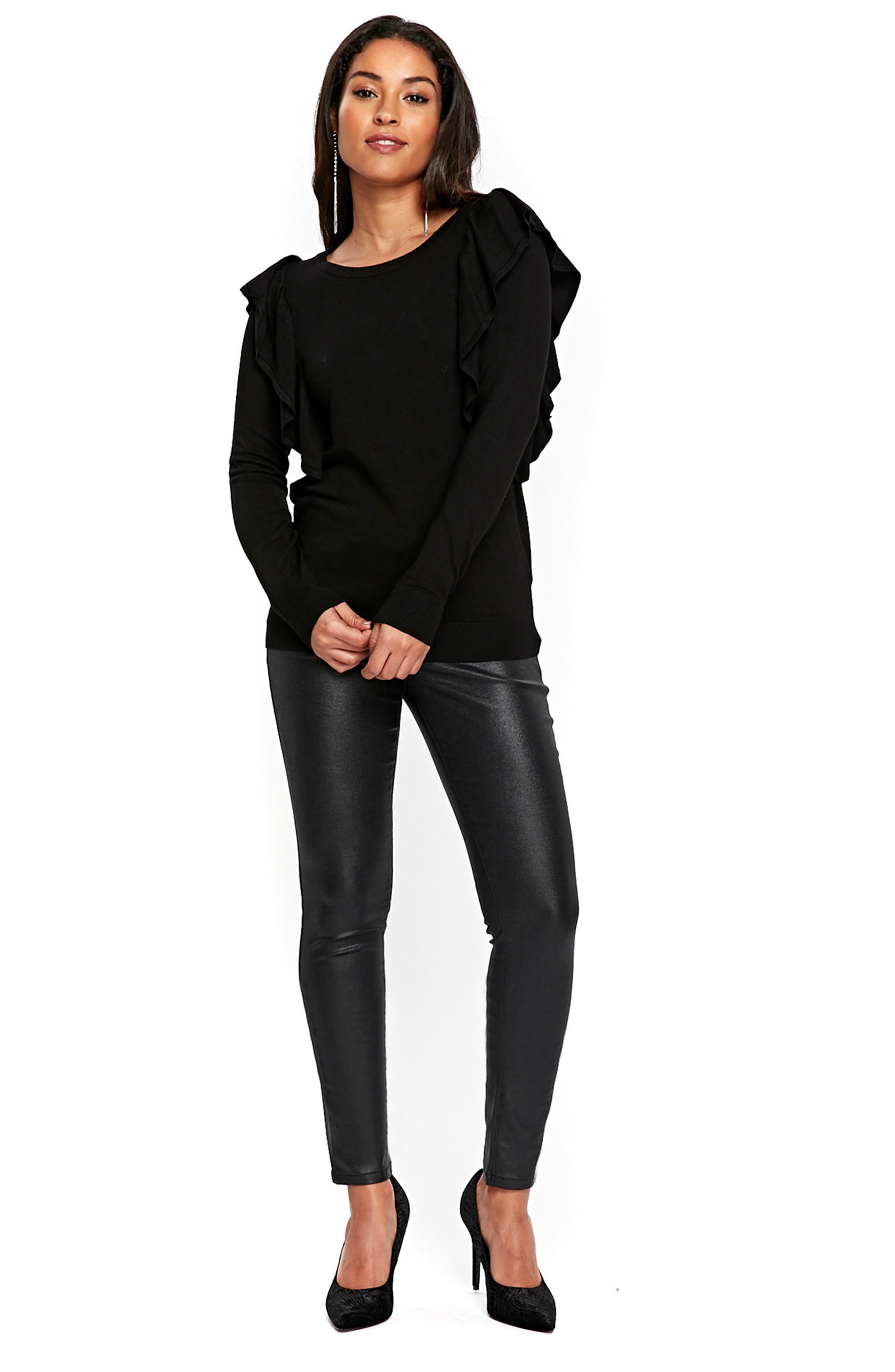 Long Sleeve Ruffle Shoulder Pullover,                             Alternate thumbnail 4, color,                             Black