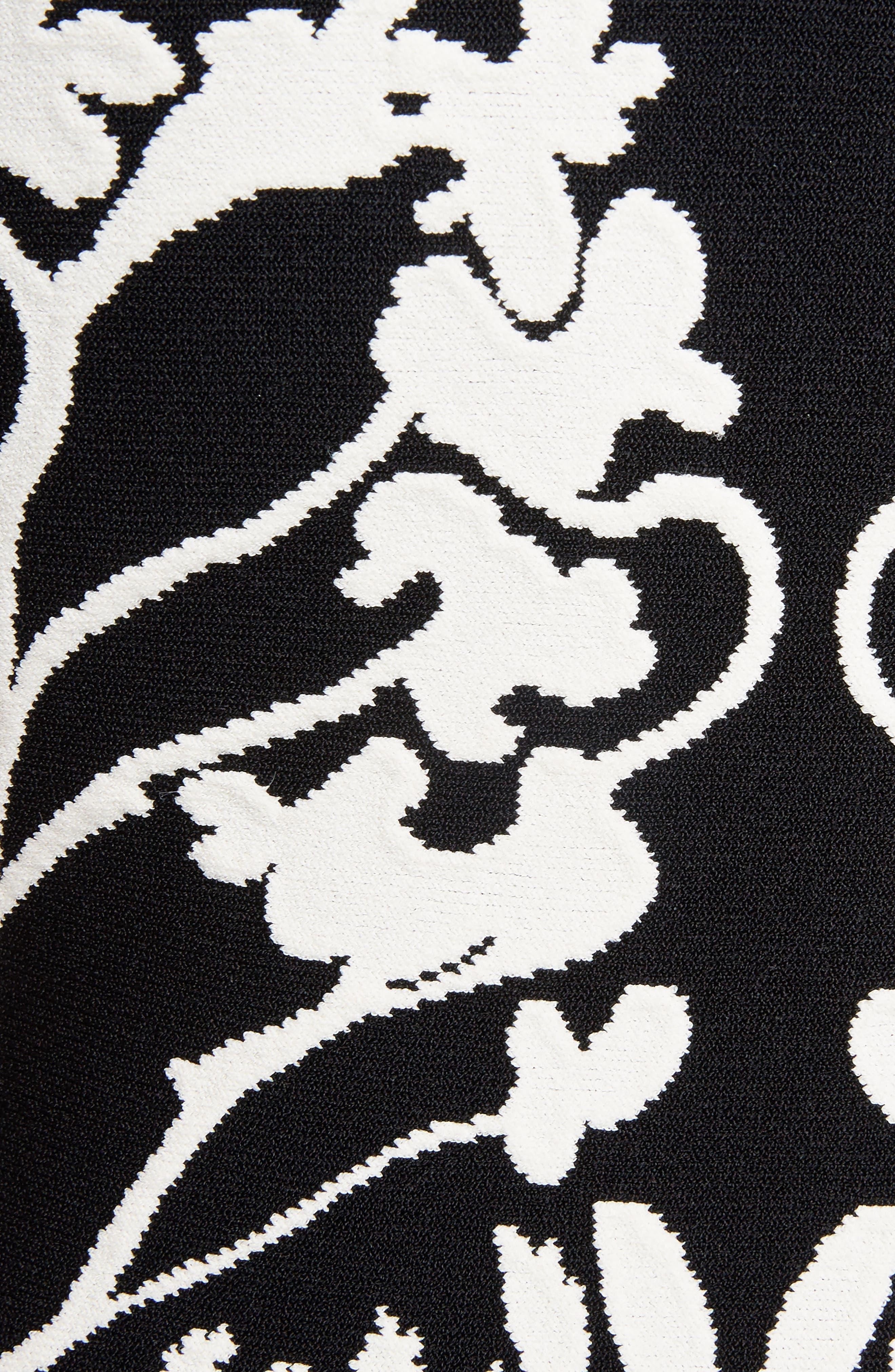 Botanical Jacquard Knit Flounce Dress,                             Alternate thumbnail 5, color,                             Black/ Ivory