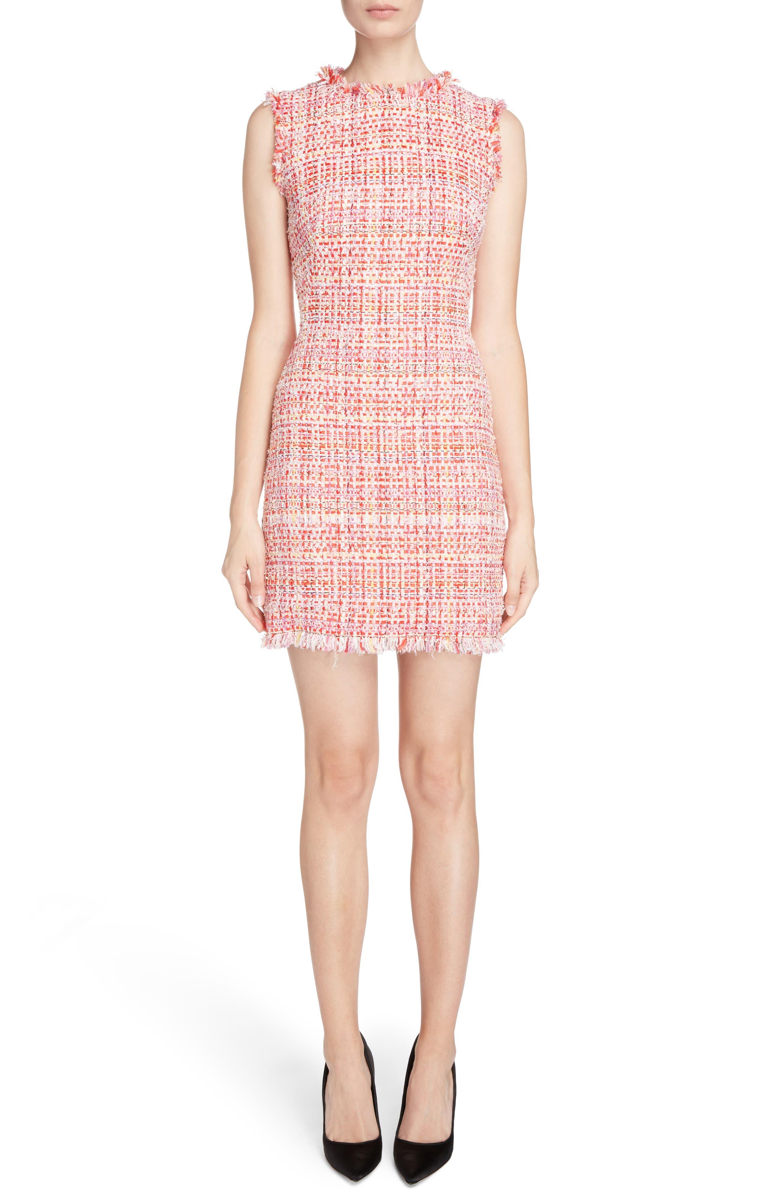 Ribbon Tweed Sheath Dress,                             Main thumbnail 1, color,                             Mix