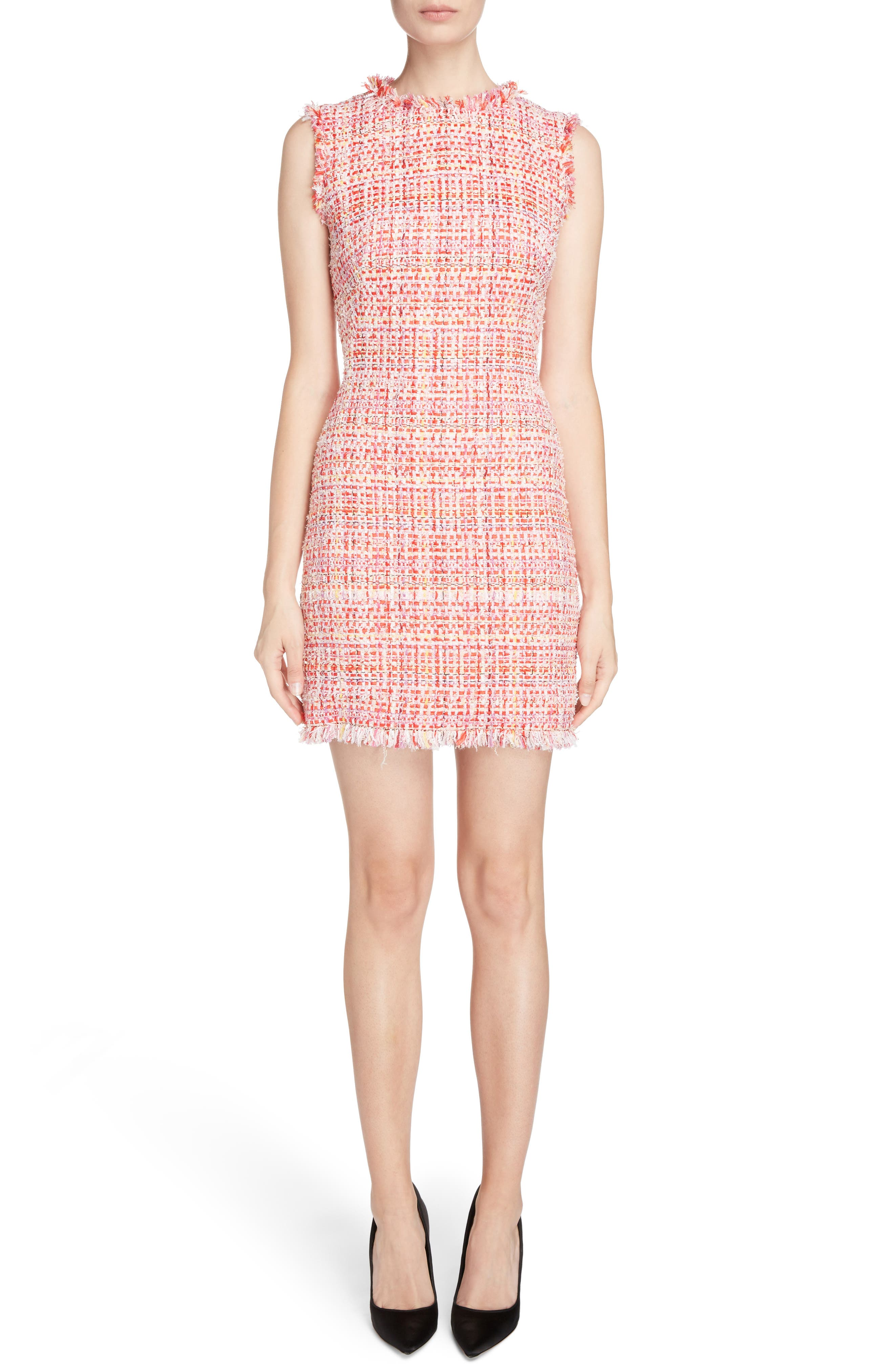 Alexander McQueen Ribbon Tweed Sheath Dress