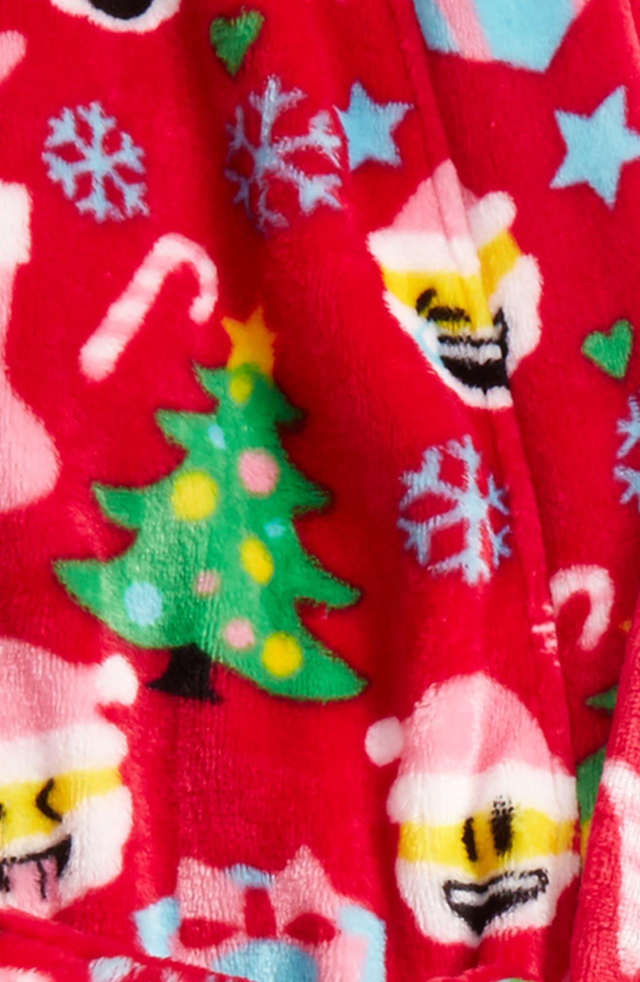 Alternate Image 2  - Candy Pink Christmas Emoji Robe (Little Girls & Big Girls)