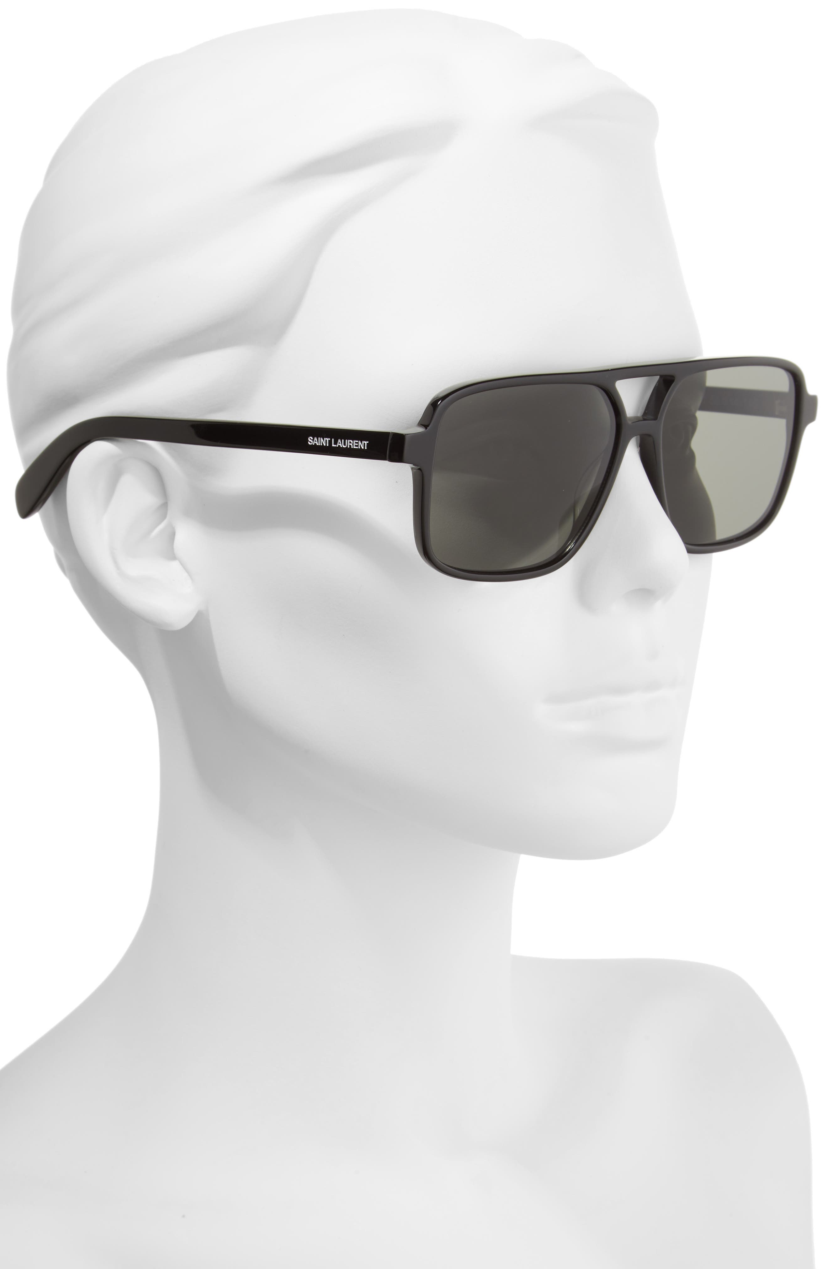 Alternate Image 2  - Saint Laurent 58mm Square Navigator Sunglasses