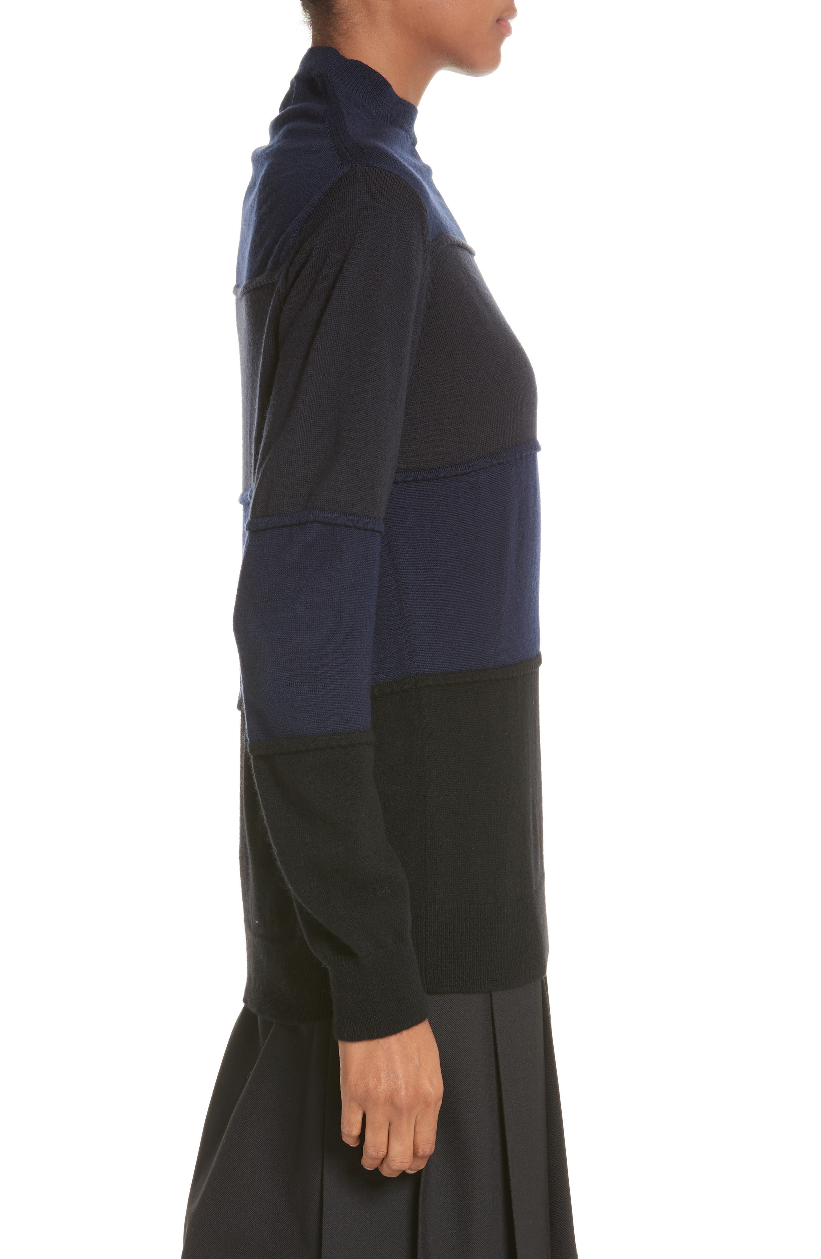 Pintuck Stripe Sweater,                             Alternate thumbnail 3, color,                             Navy