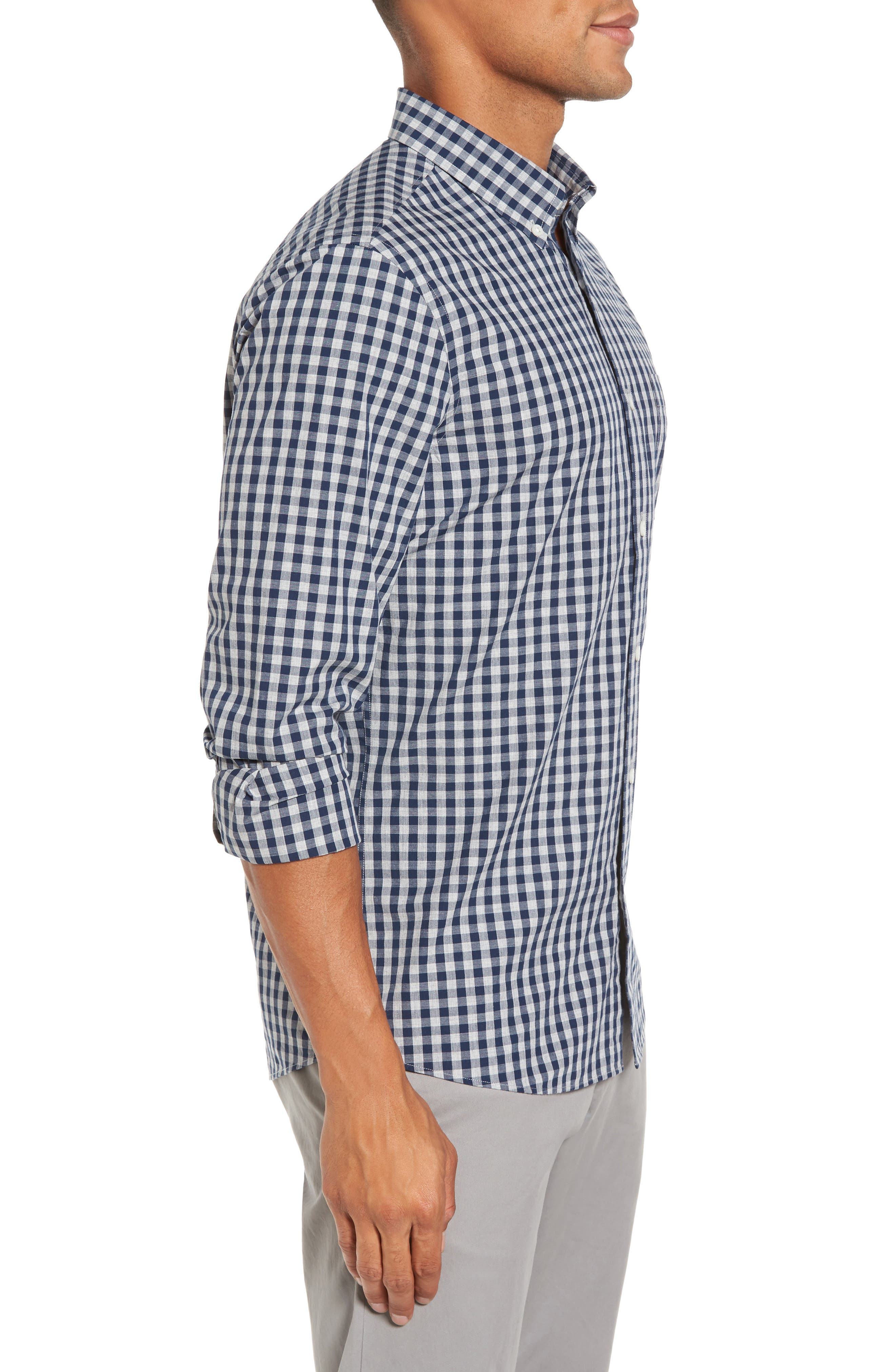 Spade Trim Fit Gingham Check Sport Shirt,                             Alternate thumbnail 4, color,                             Grey Shade Navy Gingham