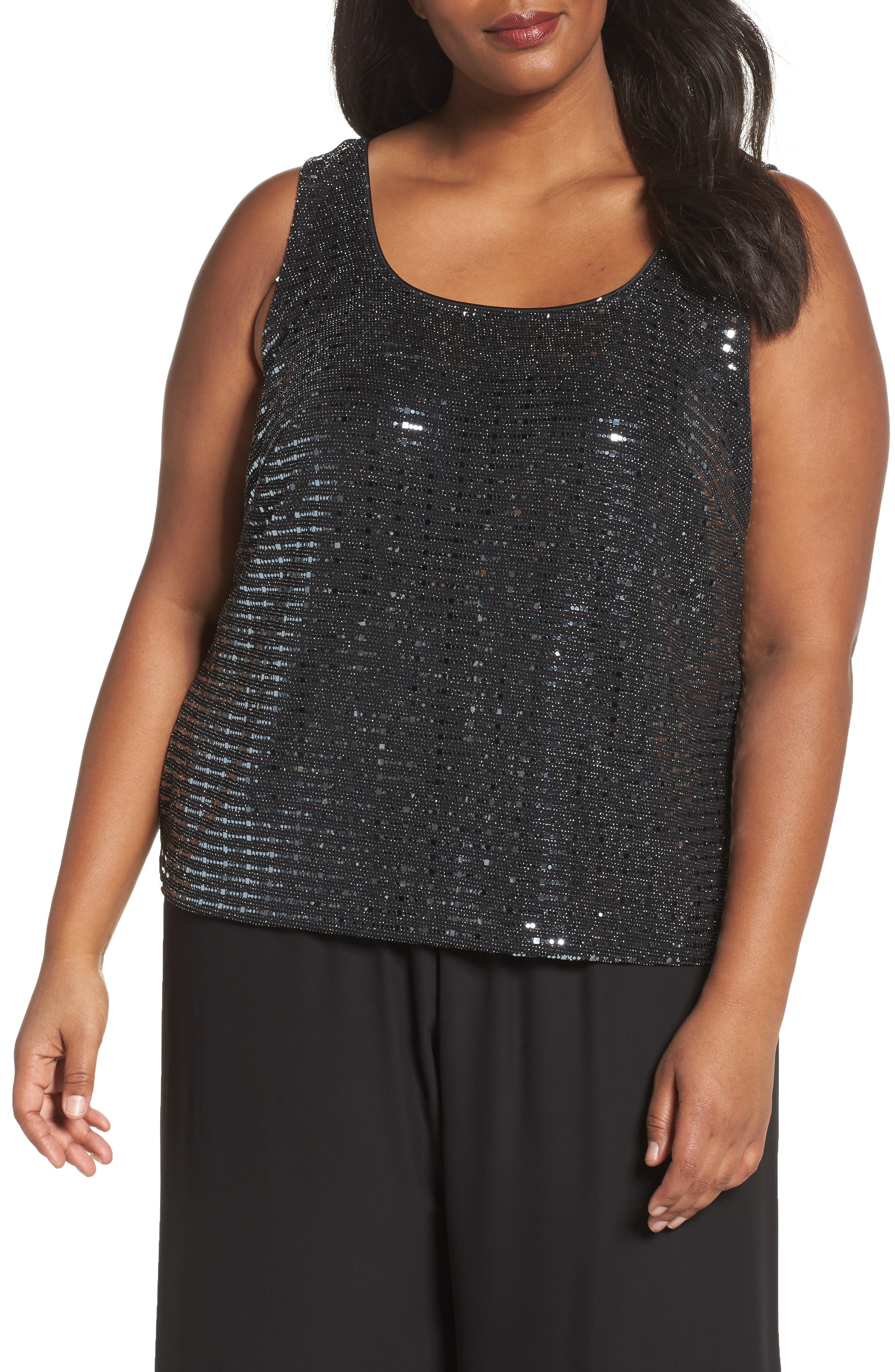 Alternate Image 4  - Alex Evenings Sequin Mandarian Collar Twinset (Plus Size)