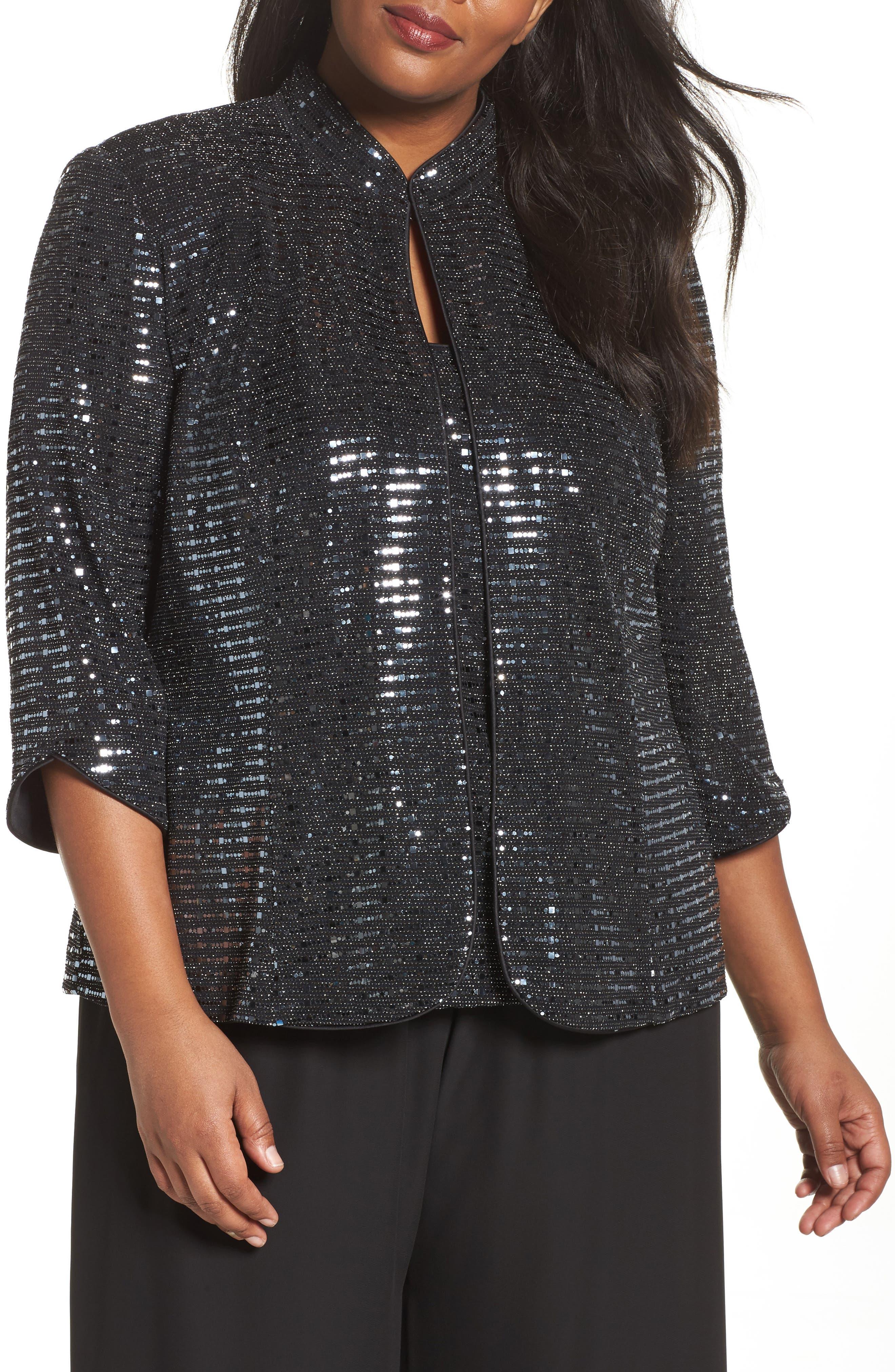Sequin Mandarian Collar Twinset,                         Main,                         color, Black/ Silver