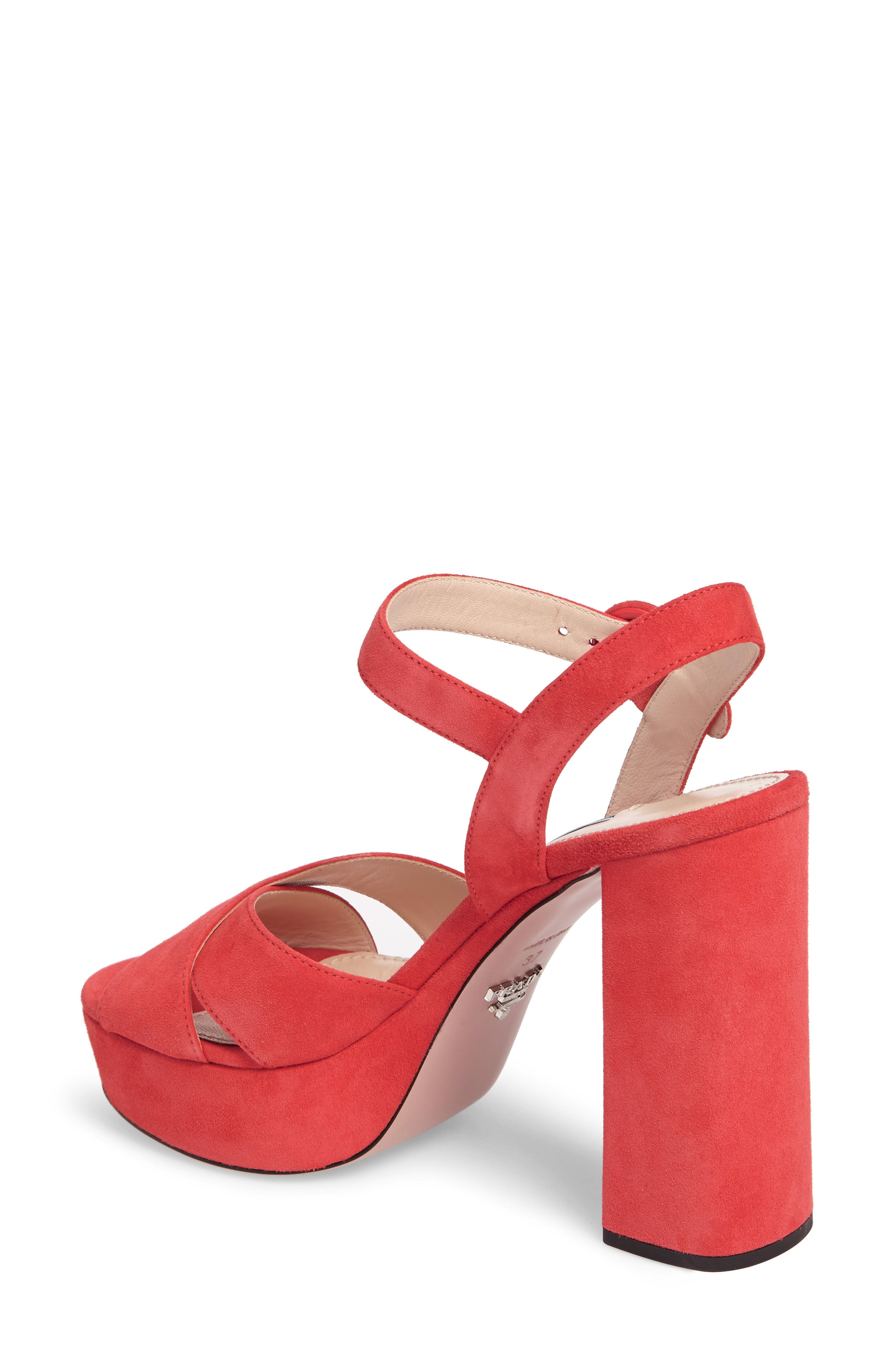Block Heel Platform Sandal,                             Alternate thumbnail 2, color,                             Corallo