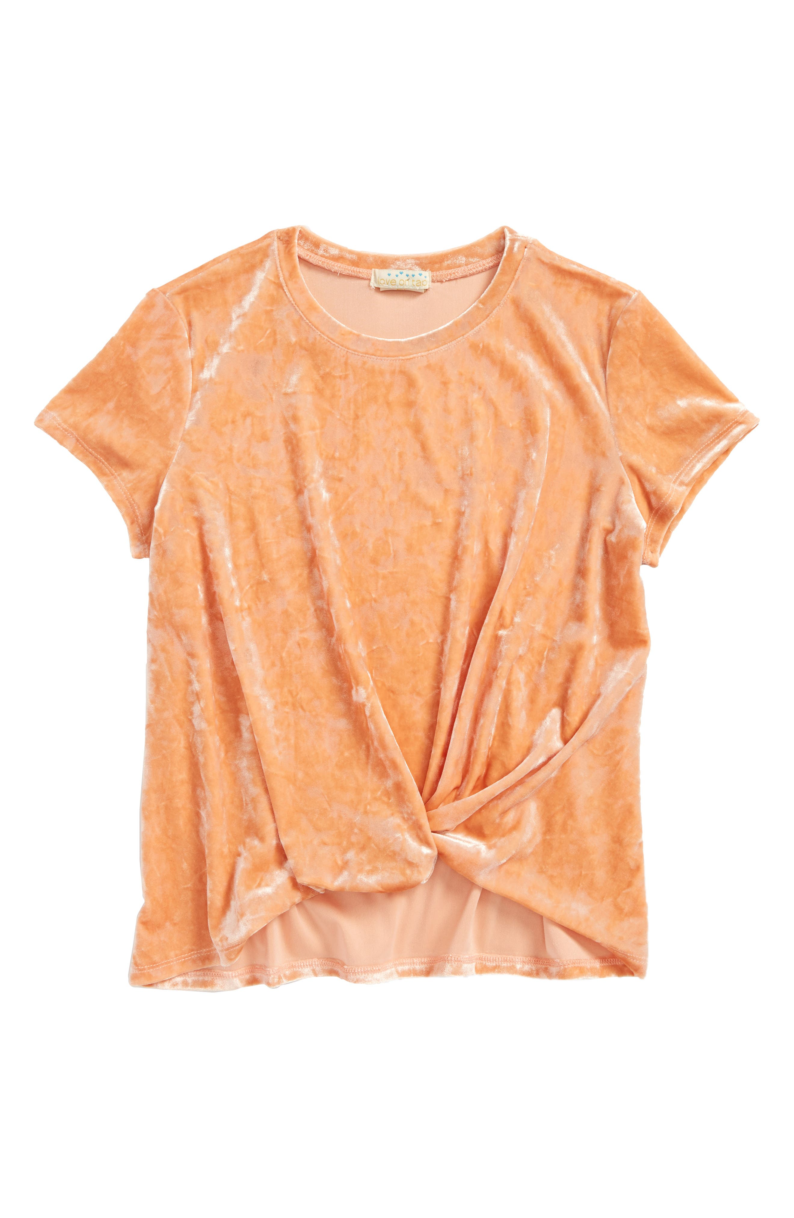 Love on Tap Knotted Velvet Tee (Big Girls)