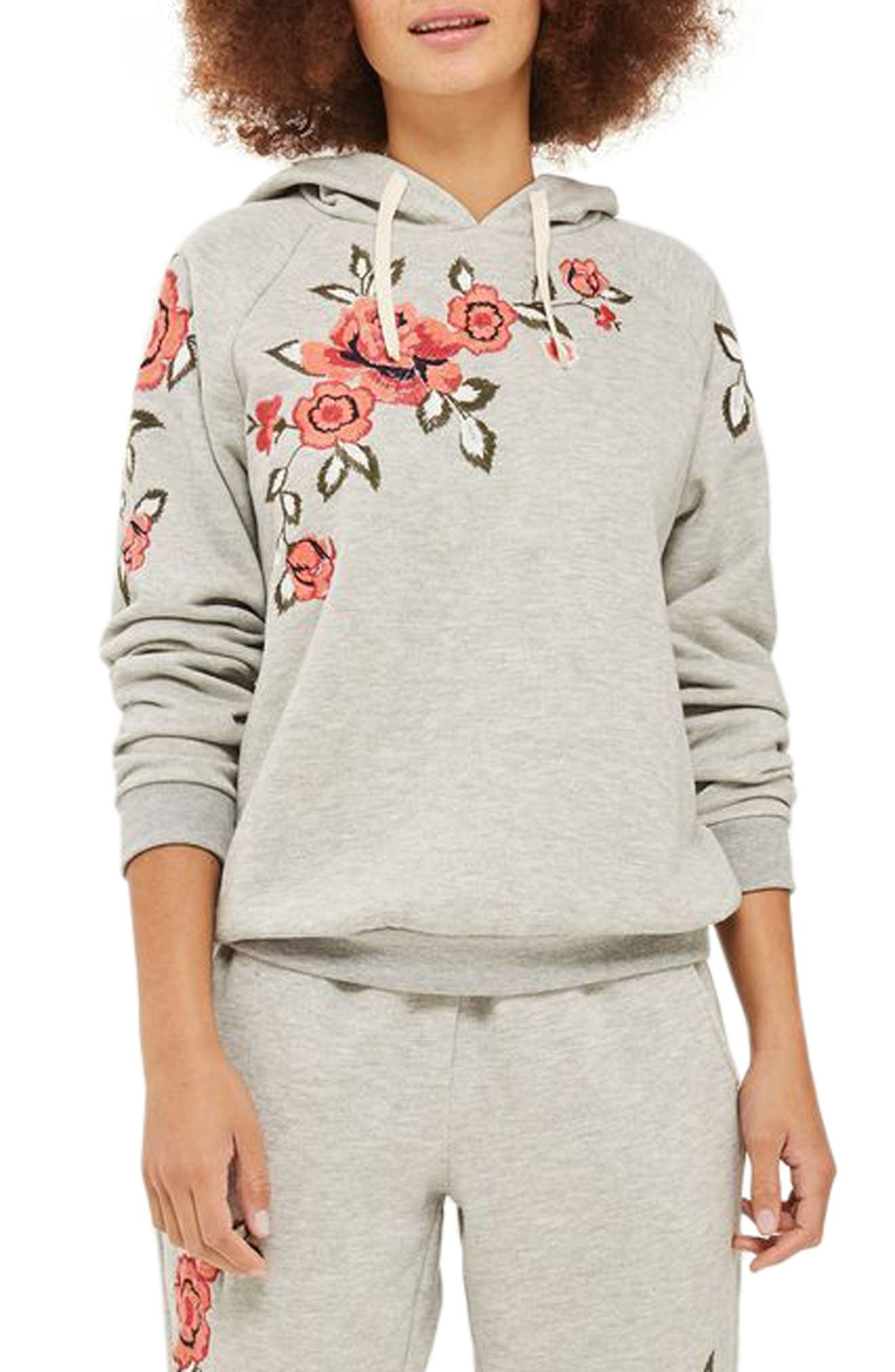 Floral Embroidered Hoodie,                             Main thumbnail 1, color,                             Grey Multi