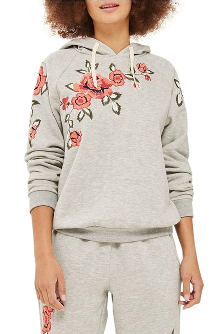 Topshop floral embroidered hoodie nordstrom