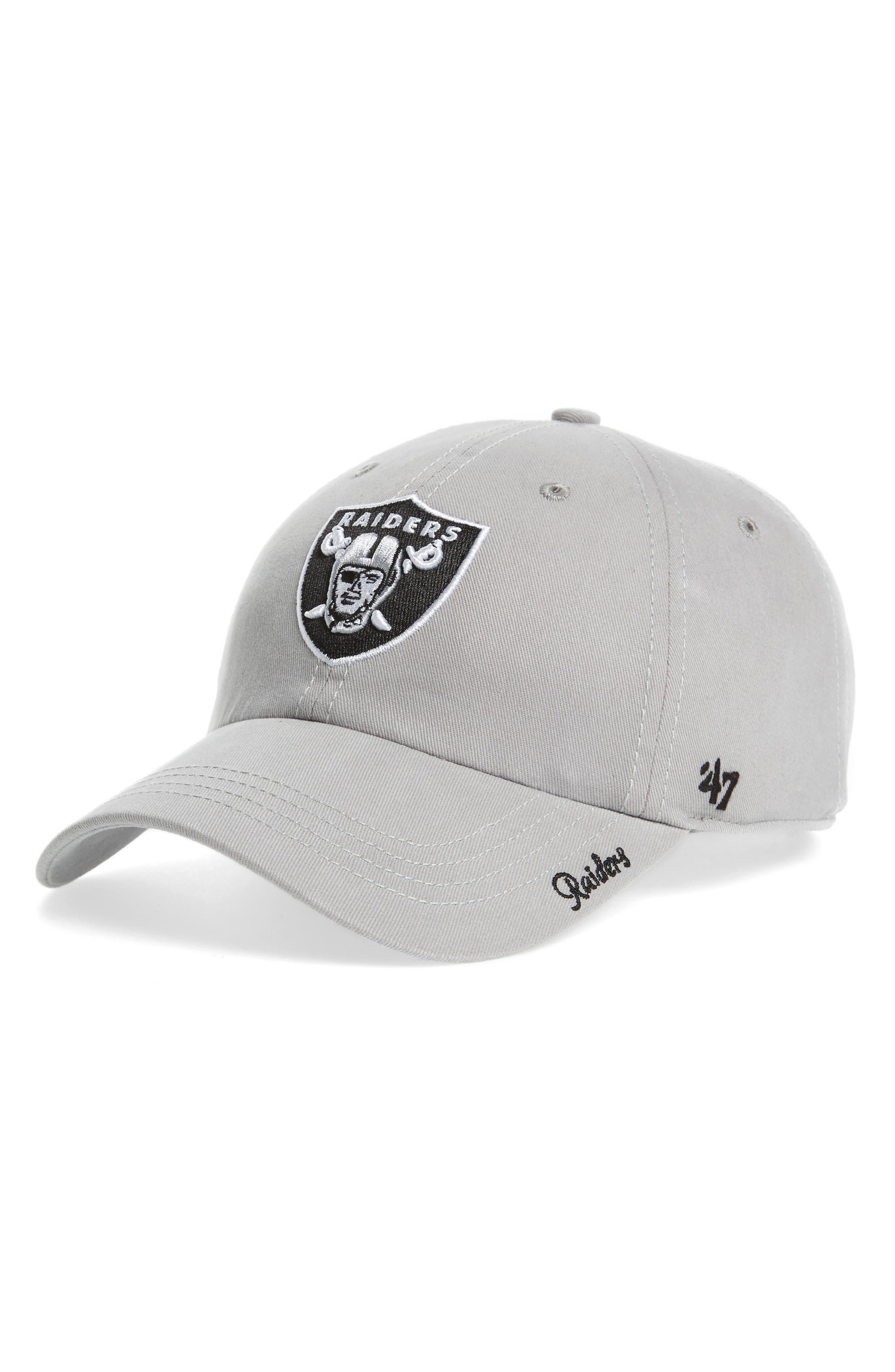 Miata Oakland Raiders Baseball Cap,                         Main,                         color, Dark Grey