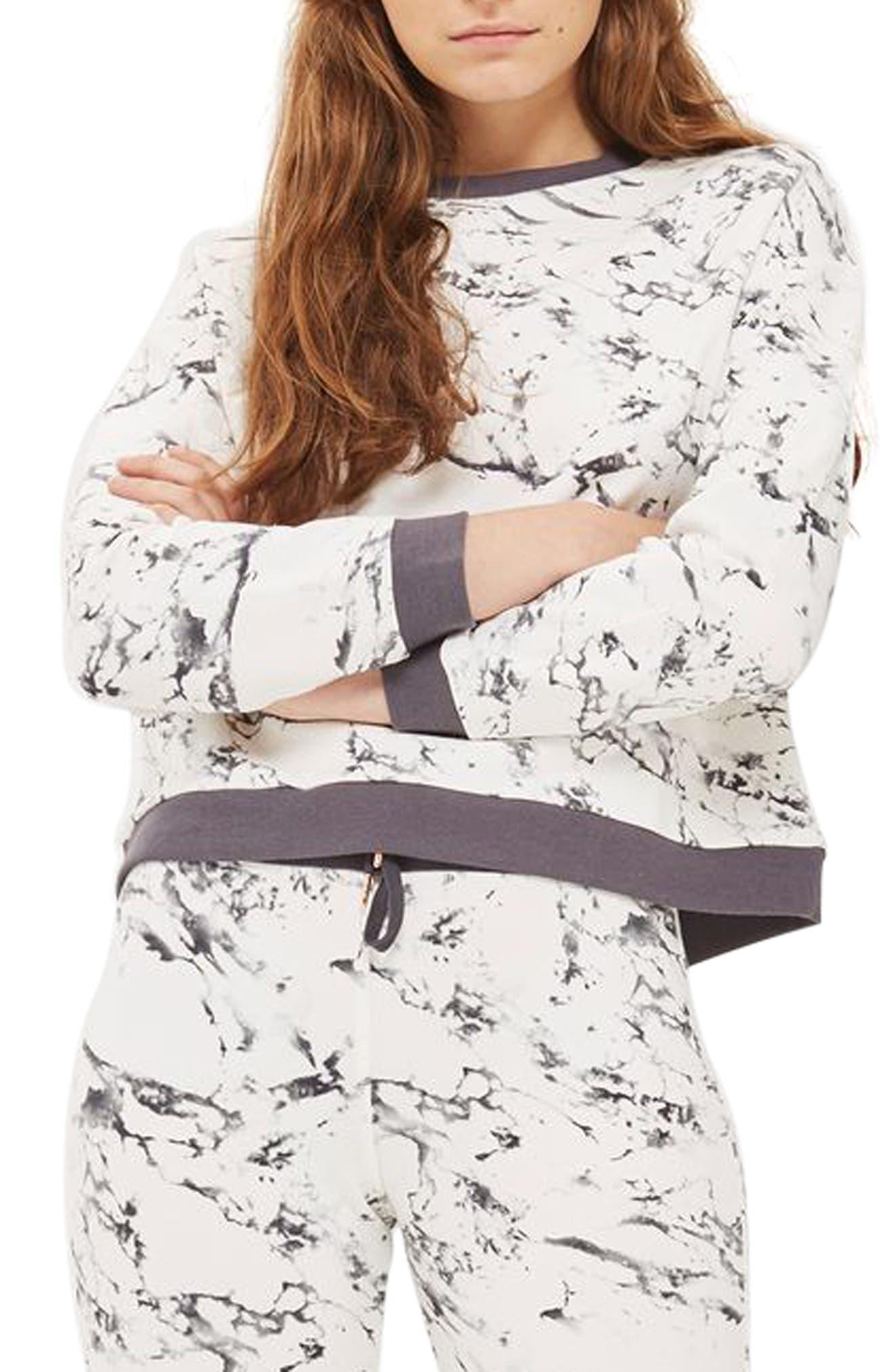 Alternate Image 1 Selected - Topshop Marble Print Lounge Sweatshirt