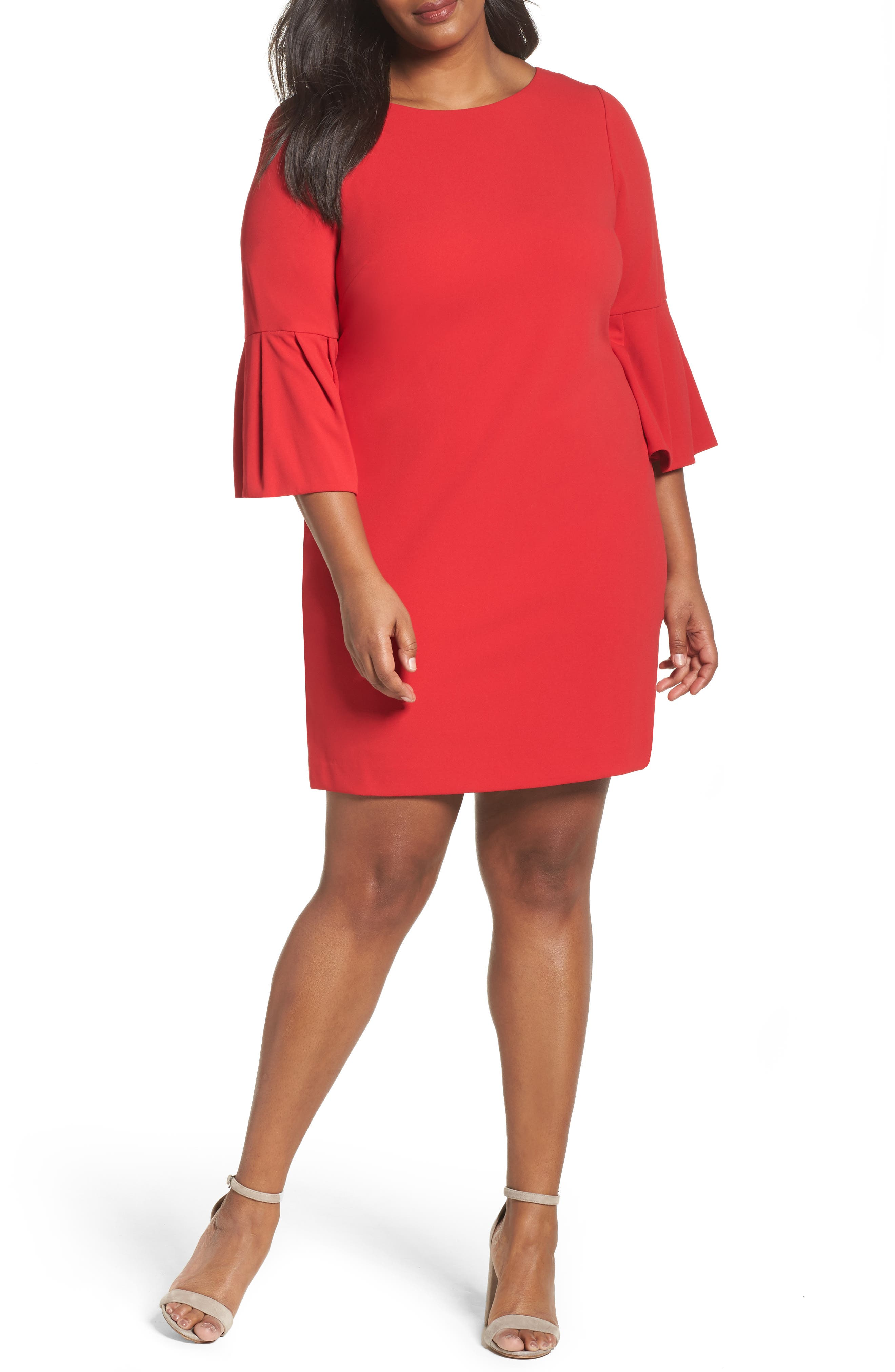 Bell Sleeve Shift Dress,                         Main,                         color, Red