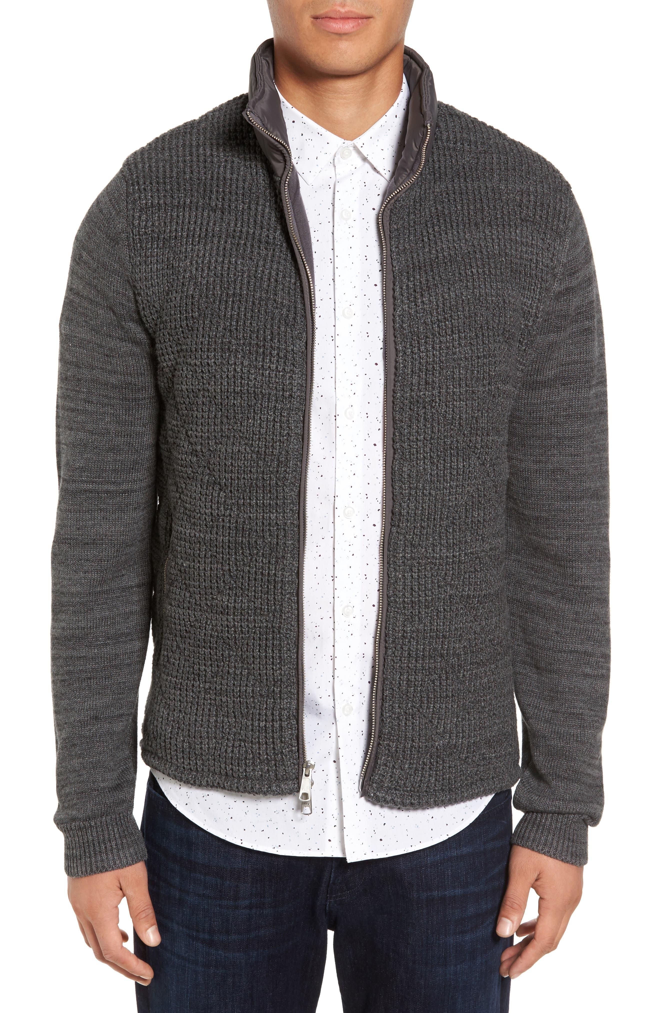 Mixed Media Full Zip Sweater,                         Main,                         color, Grey Dark Charcoal Spacedye