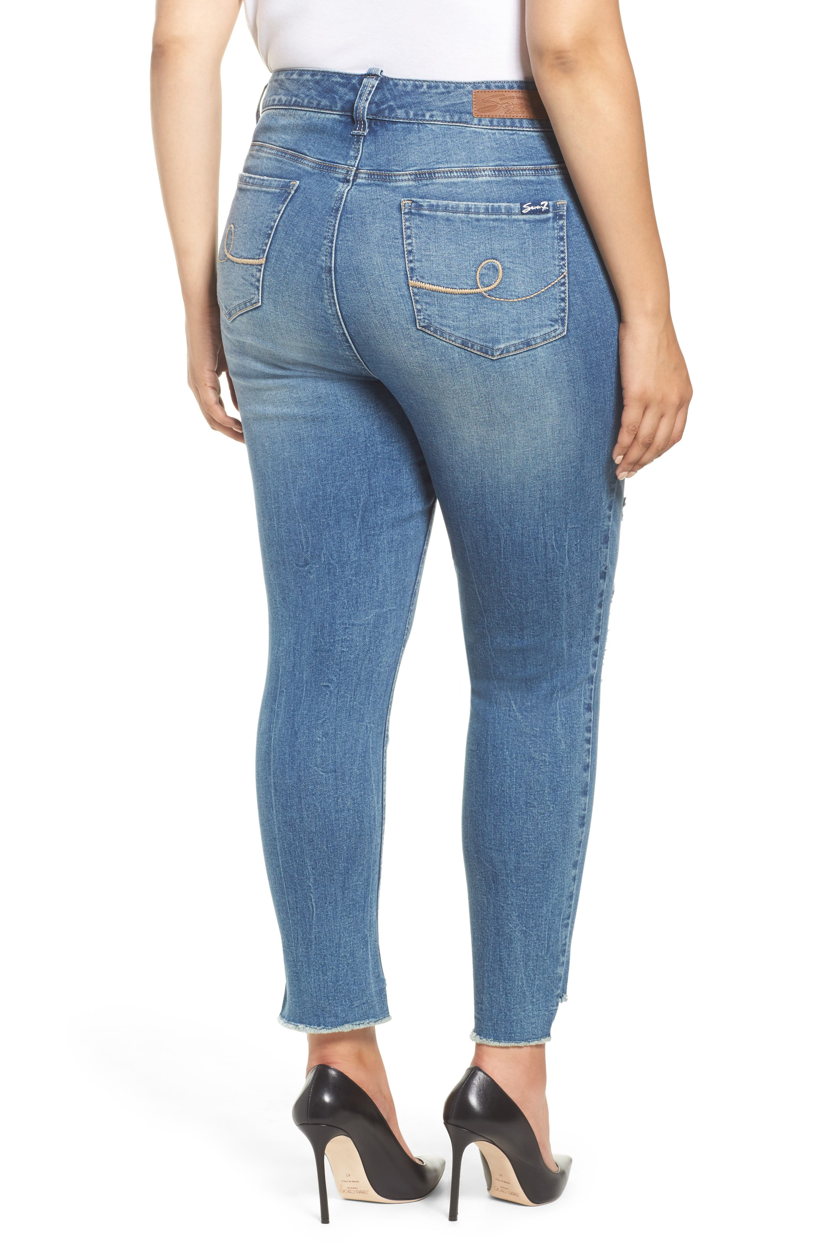 Alternate Image 2  - Seven7 High/Low Ankle Skinny Jeans (Molokai) (Plus Size)