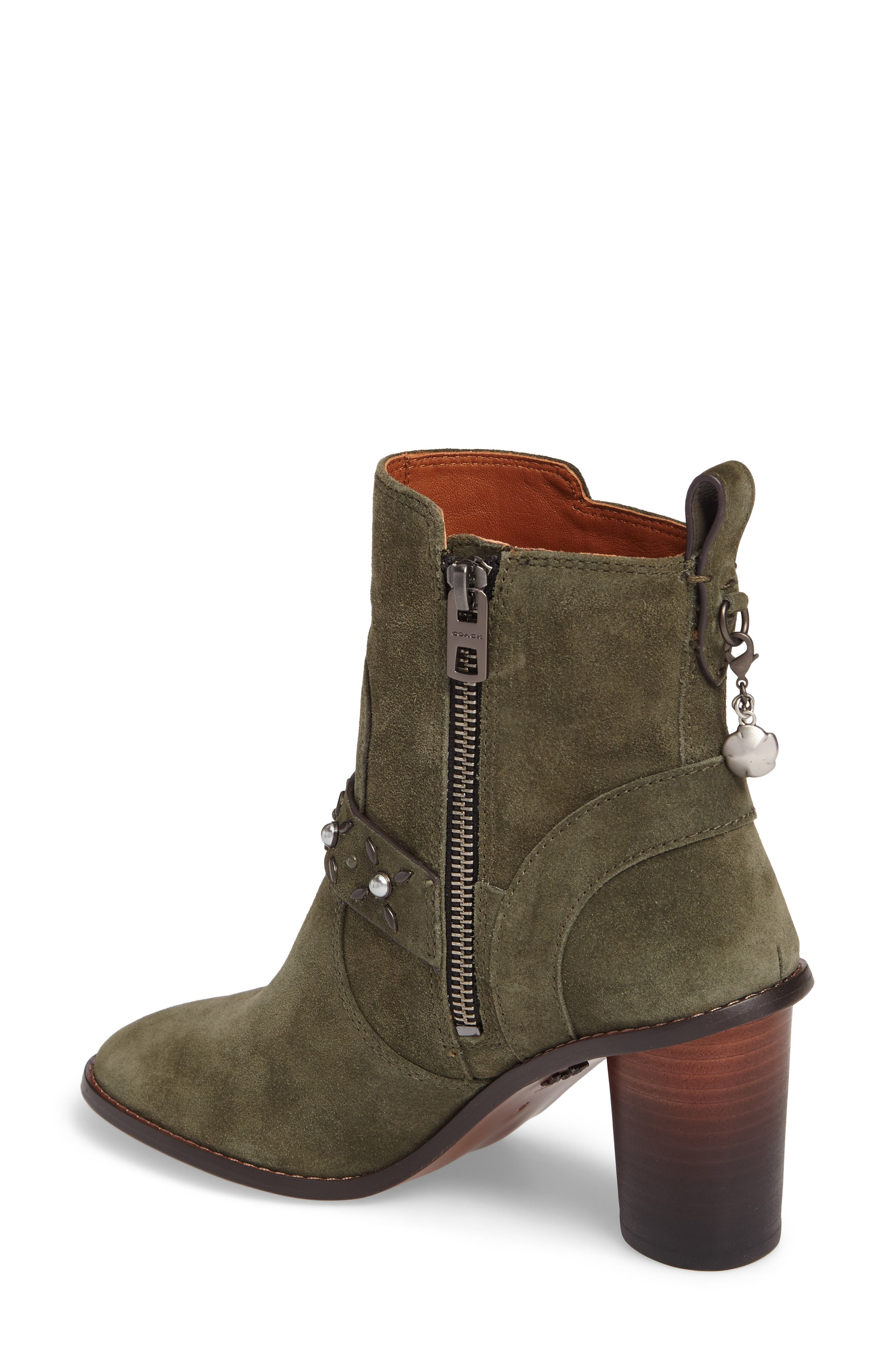 Studded Western Boot,                             Alternate thumbnail 2, color,                             Olive Suede
