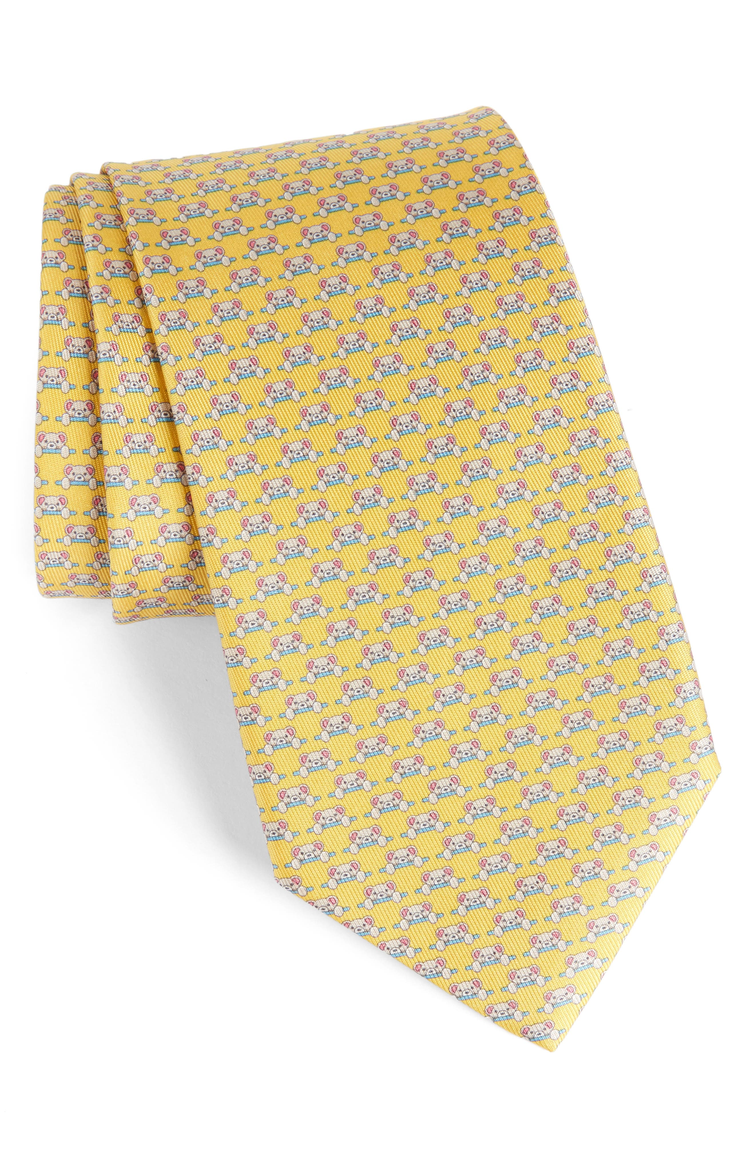 Dino Bear Print Silk Tie,                         Main,                         color, Yellow