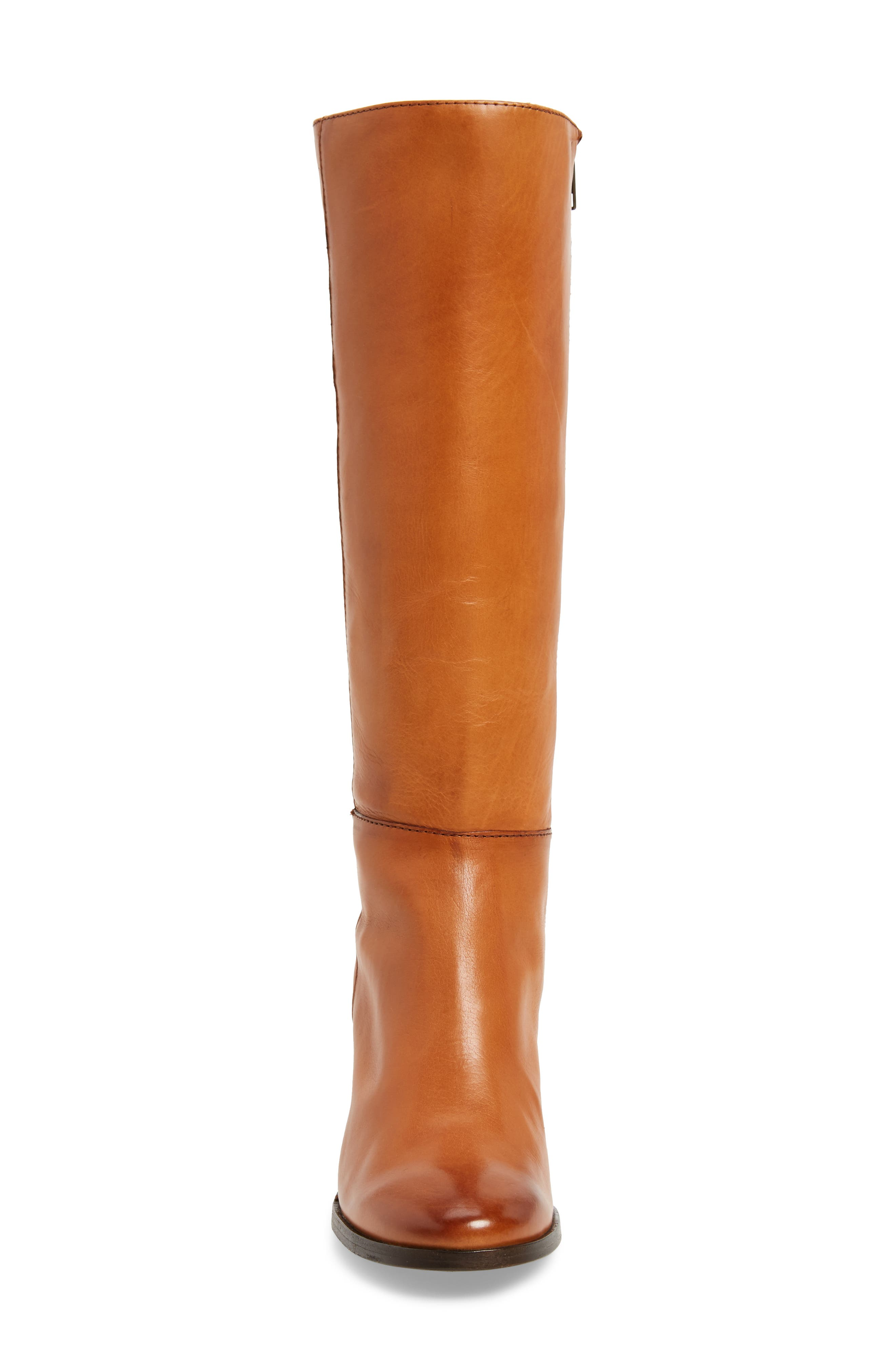 Nova Floral Embroidered Knee High Boot,                             Alternate thumbnail 4, color,                             Cognac Fabric