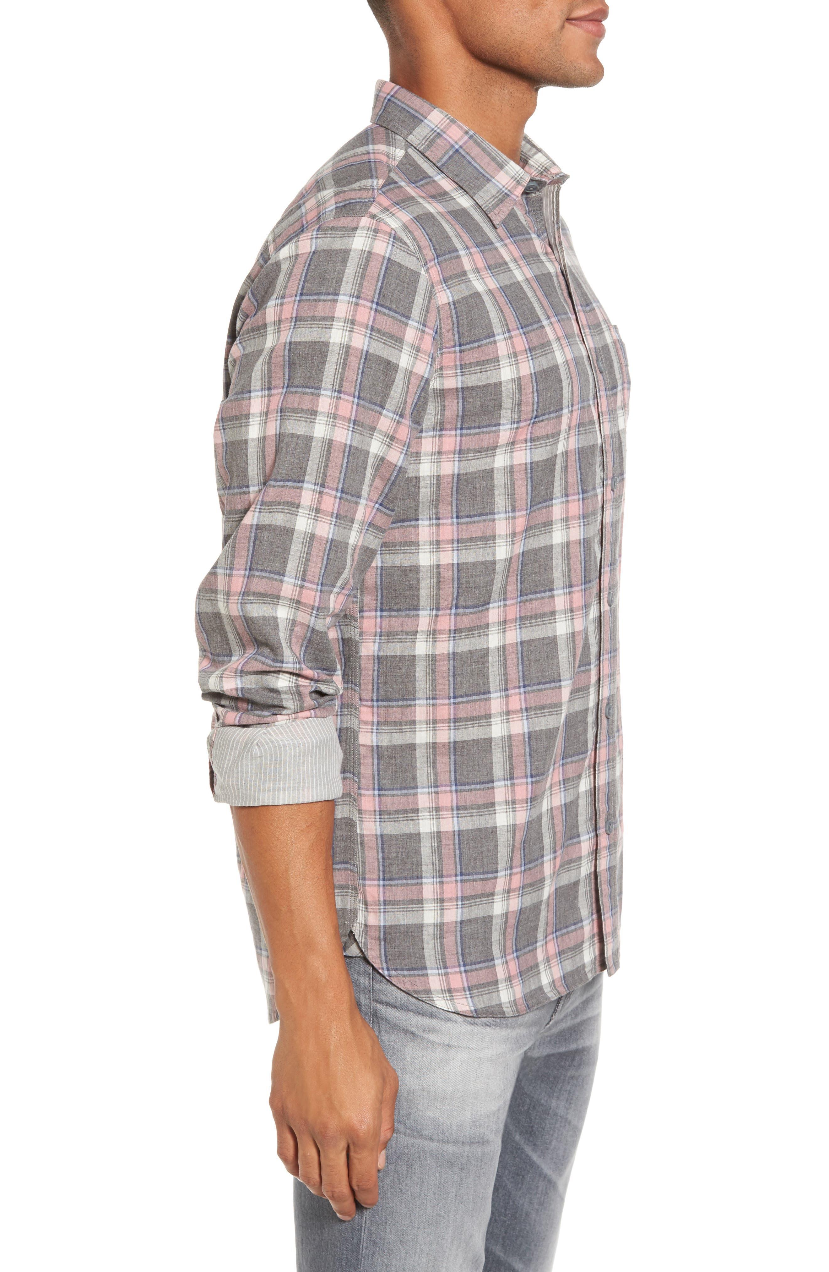Trim Fit Utility Duofold Sport Shirt,                             Alternate thumbnail 3, color,                             Grey Paloma Pink Plaid Duofold