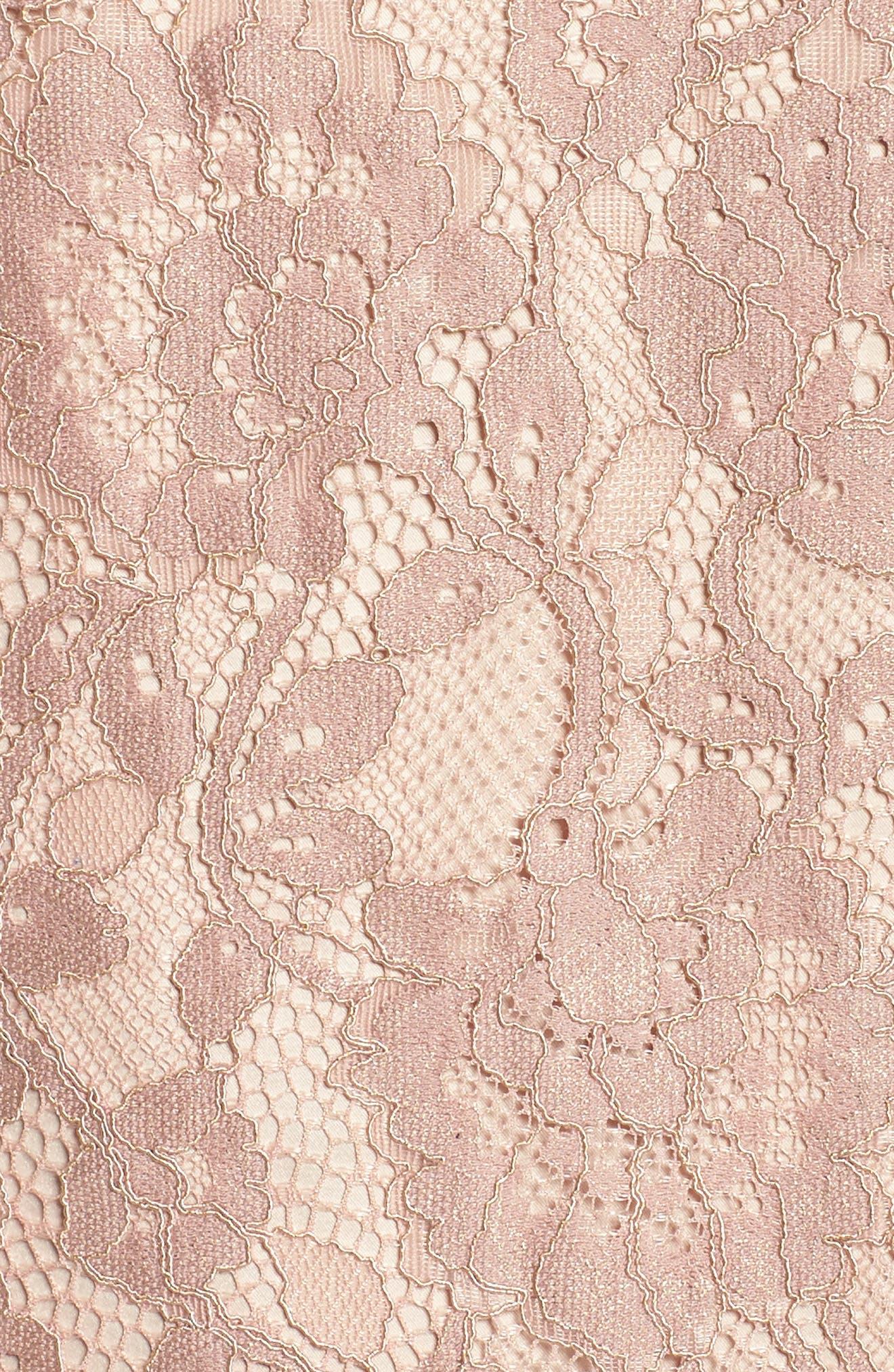 Ruffle Cuff Lace Shift Dress,                             Alternate thumbnail 5, color,                             Blush