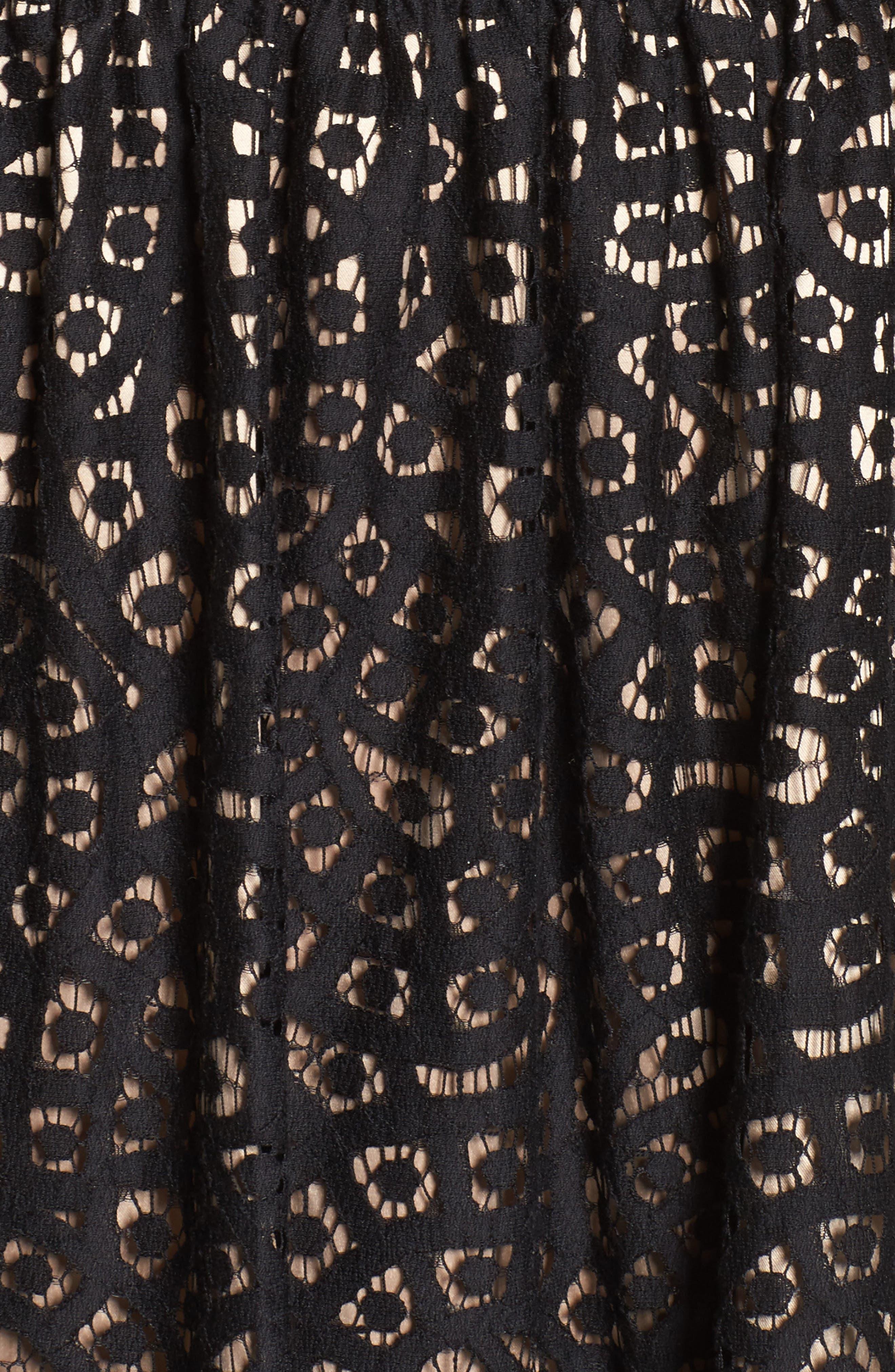 Sleeveless Lace Trim Fit & Flare Dress,                             Alternate thumbnail 6, color,                             Black