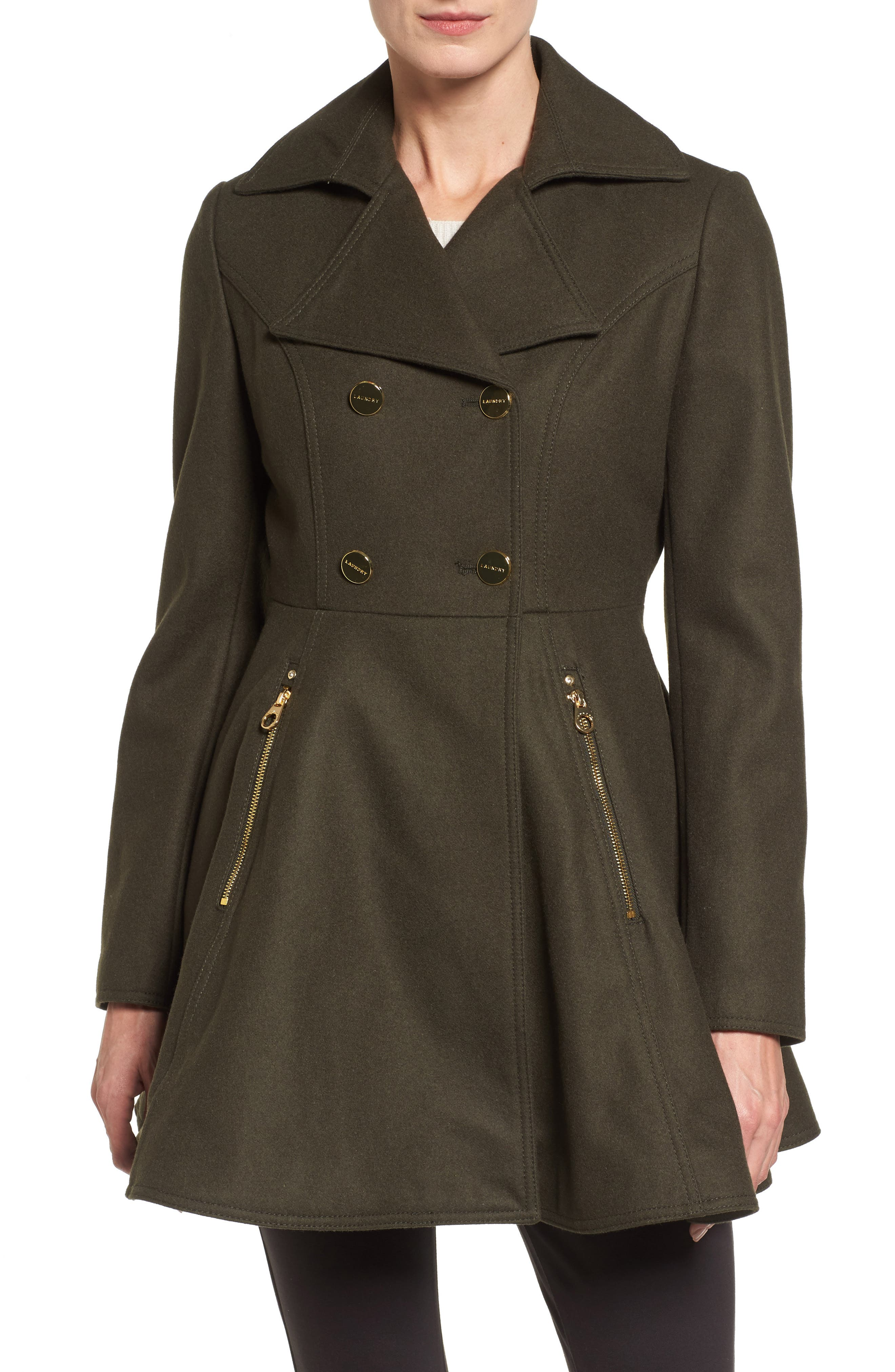 Women's double breasted military coat uk