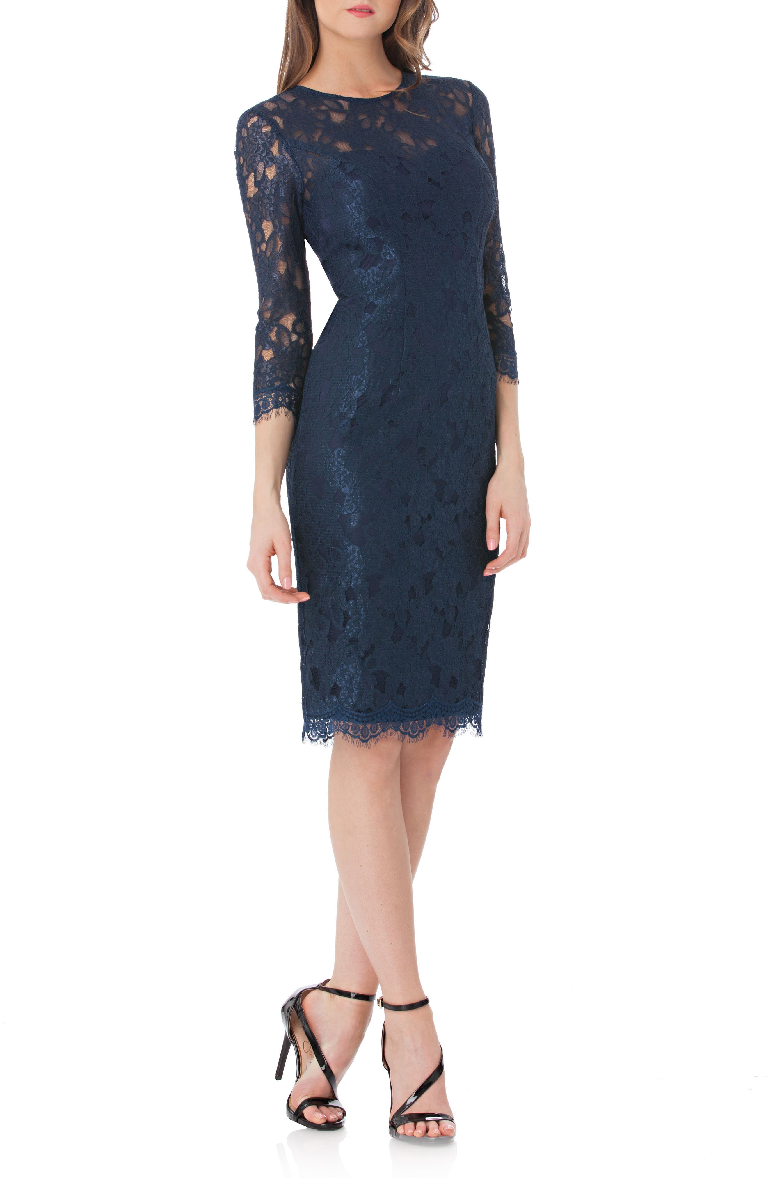 JS Collections Lace Sheath Dress (Regular & Petite)