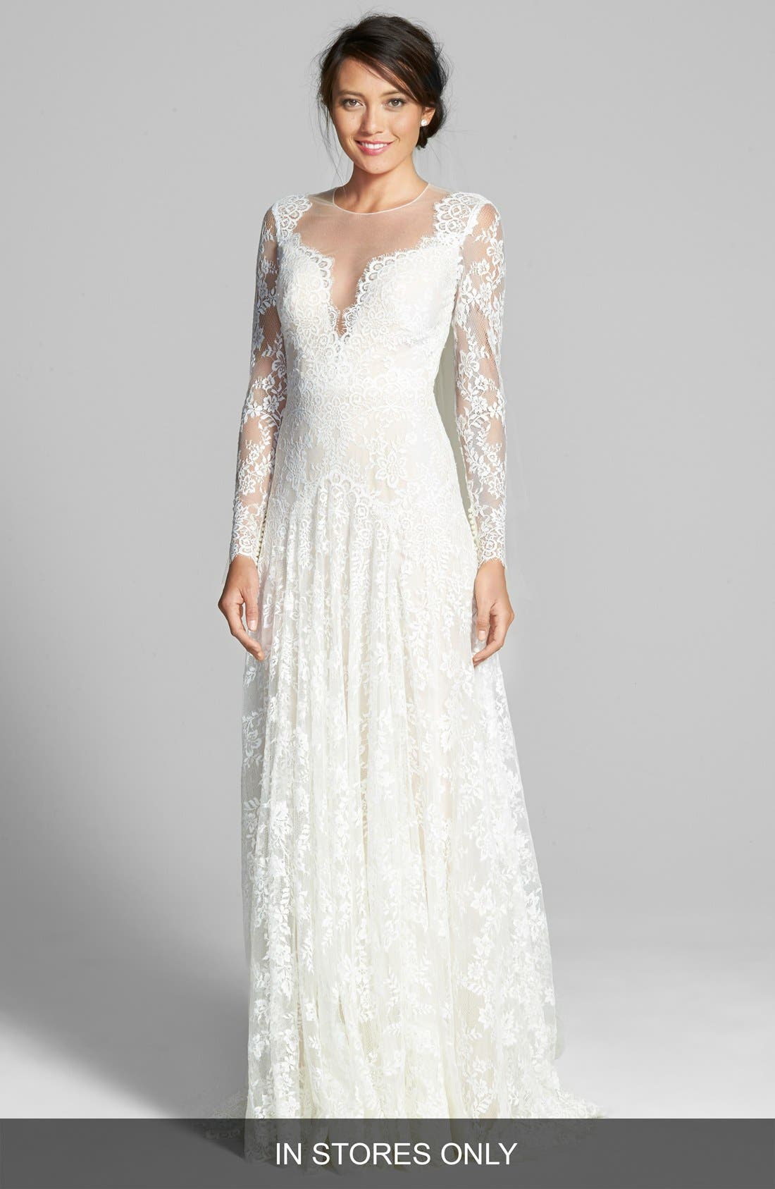 Main Image - Watters Arcelia Illusion Yoke A-Line Lace Gown