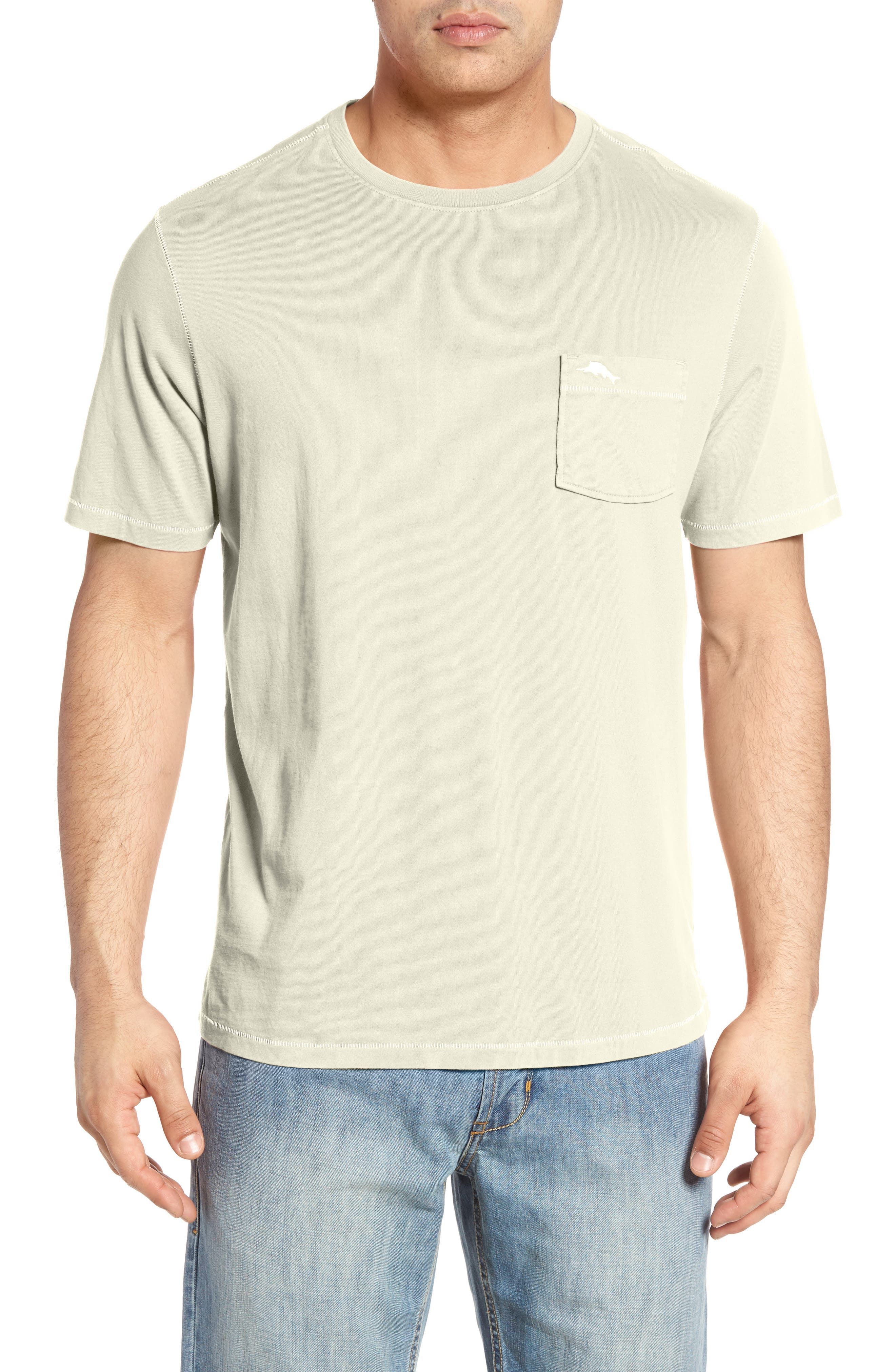 'New Bahama Reef' Island Modern Fit Pima Cotton Pocket T-Shirt,                             Main thumbnail 1, color,                             Coconut