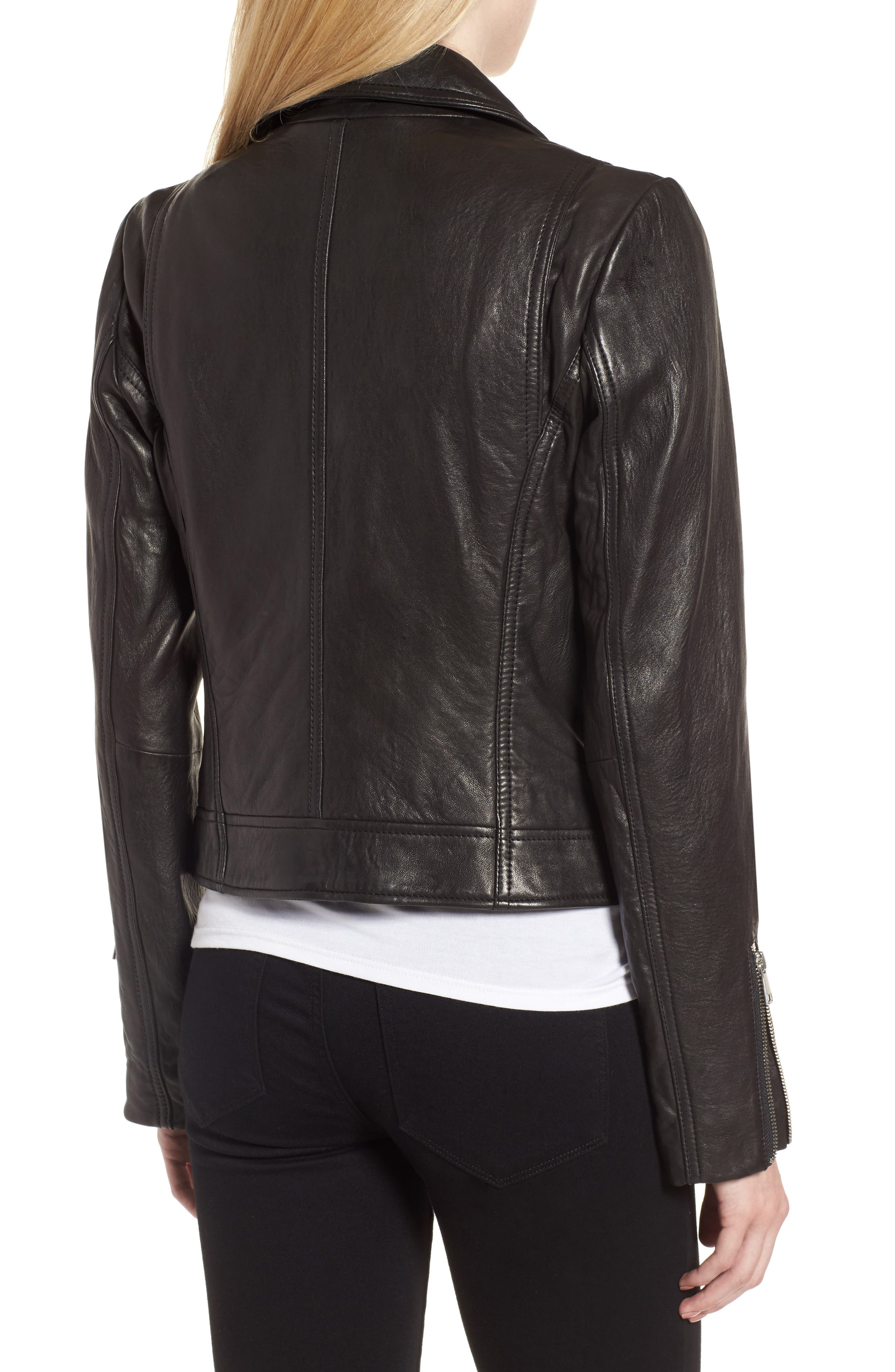 Leather Jacket,                             Alternate thumbnail 2, color,                             Black