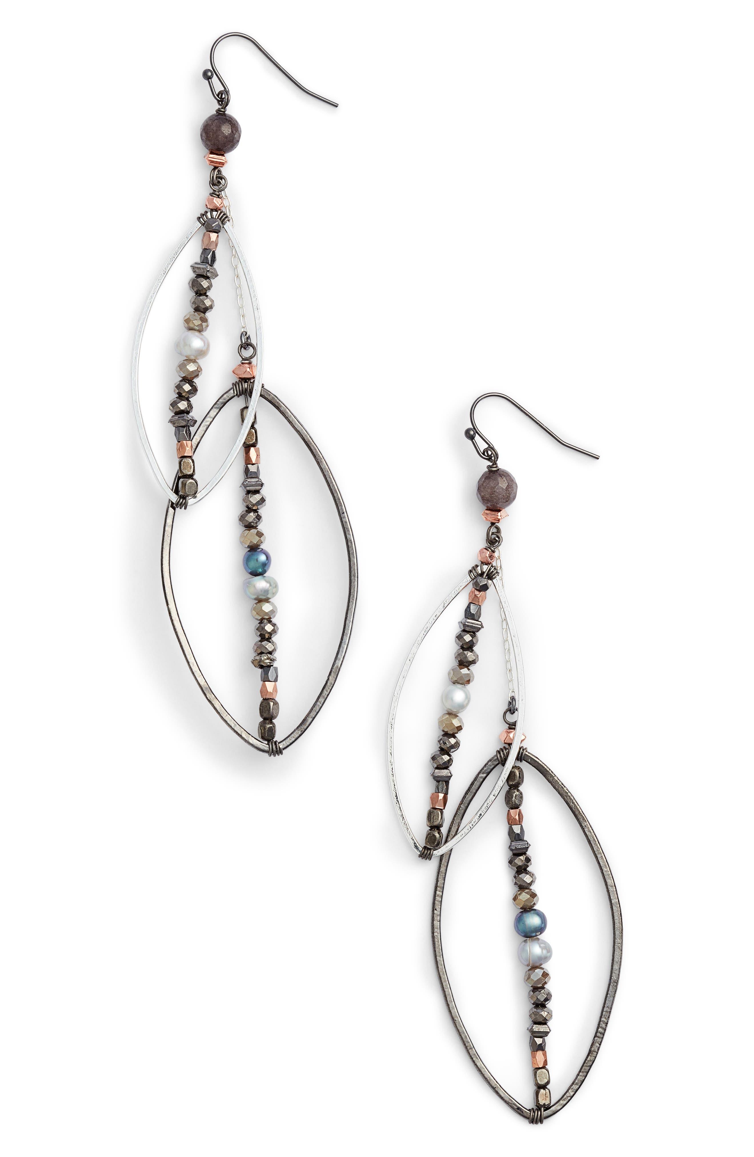 Long Layered Drop Earrings,                         Main,                         color, Silver