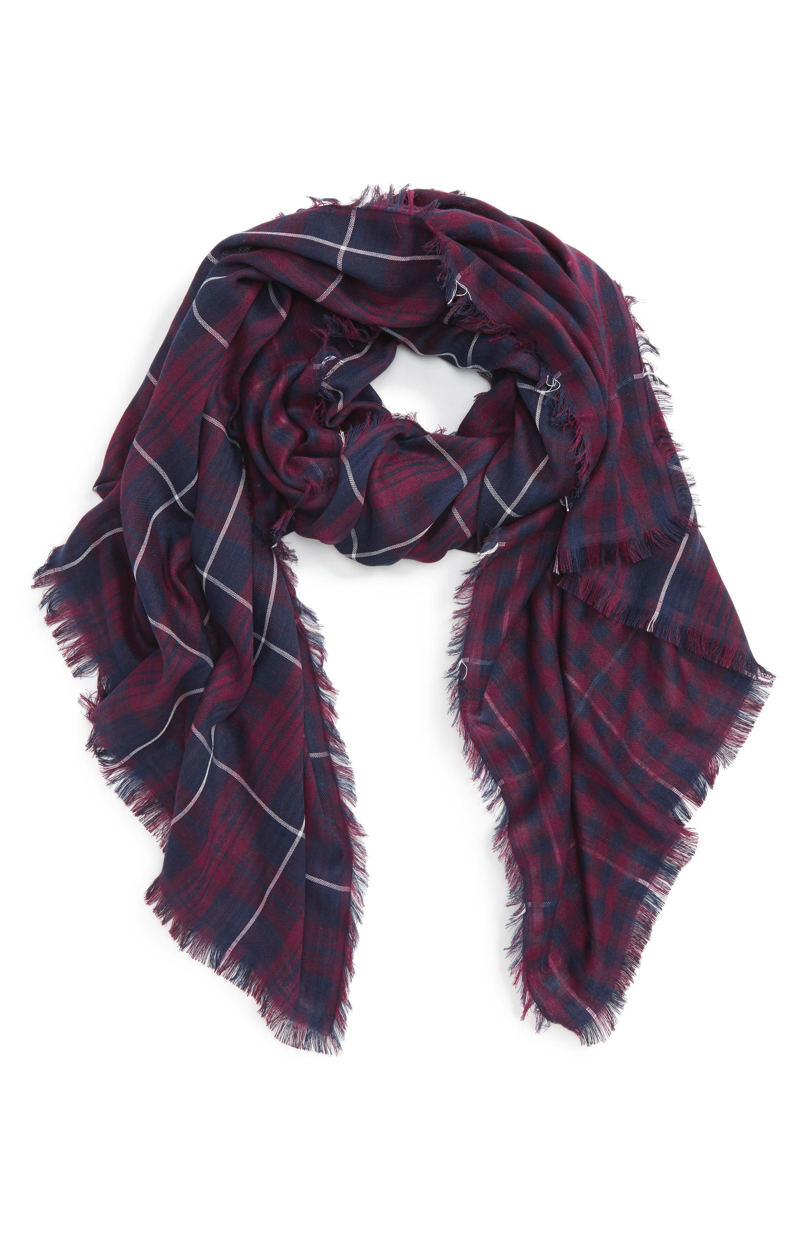 David & Young Plaid Oblong Scarf,                             Main thumbnail 1, color,                             Blue/ Red