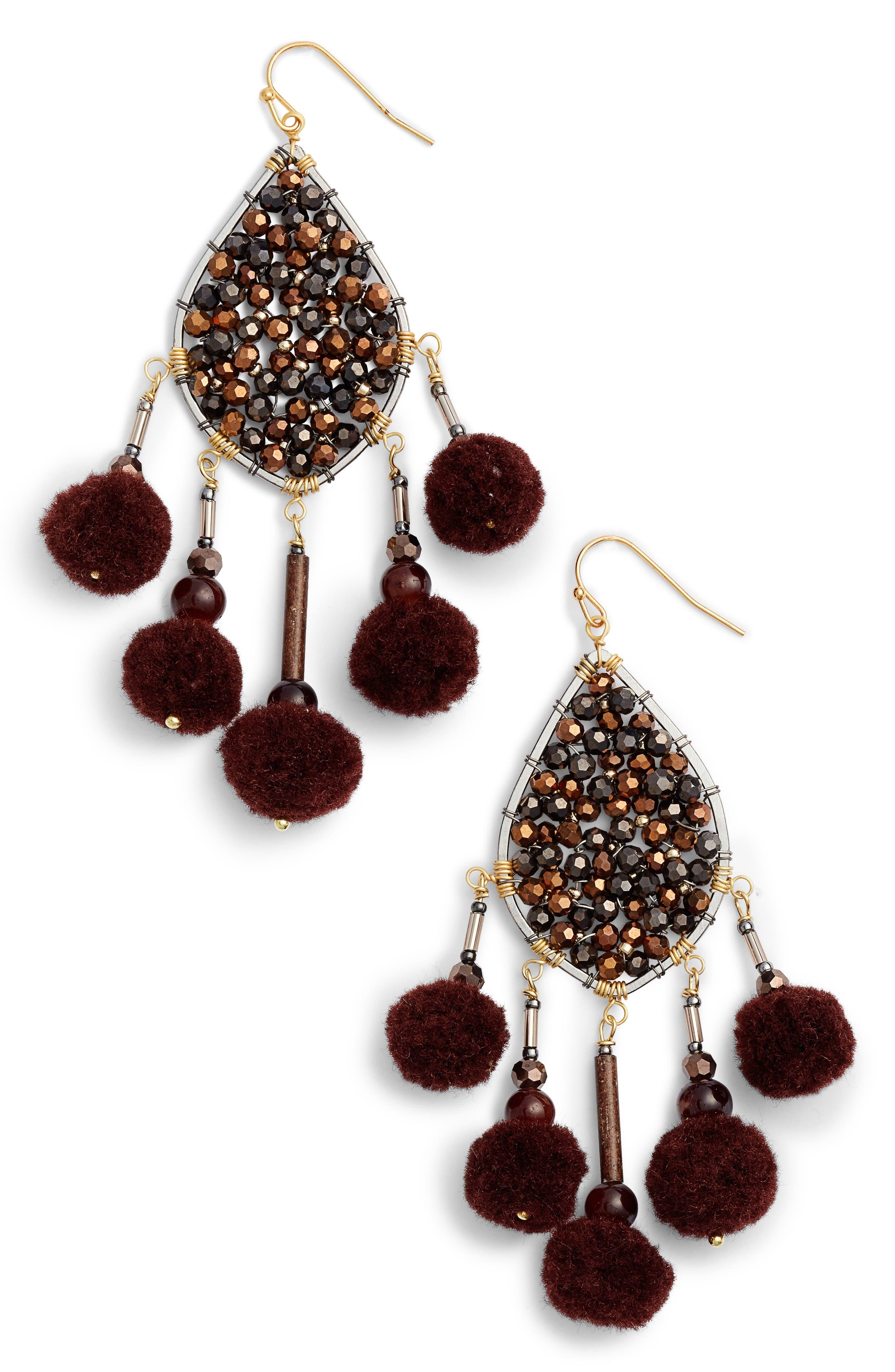 Pompom Drop Earrings,                         Main,                         color, Brown