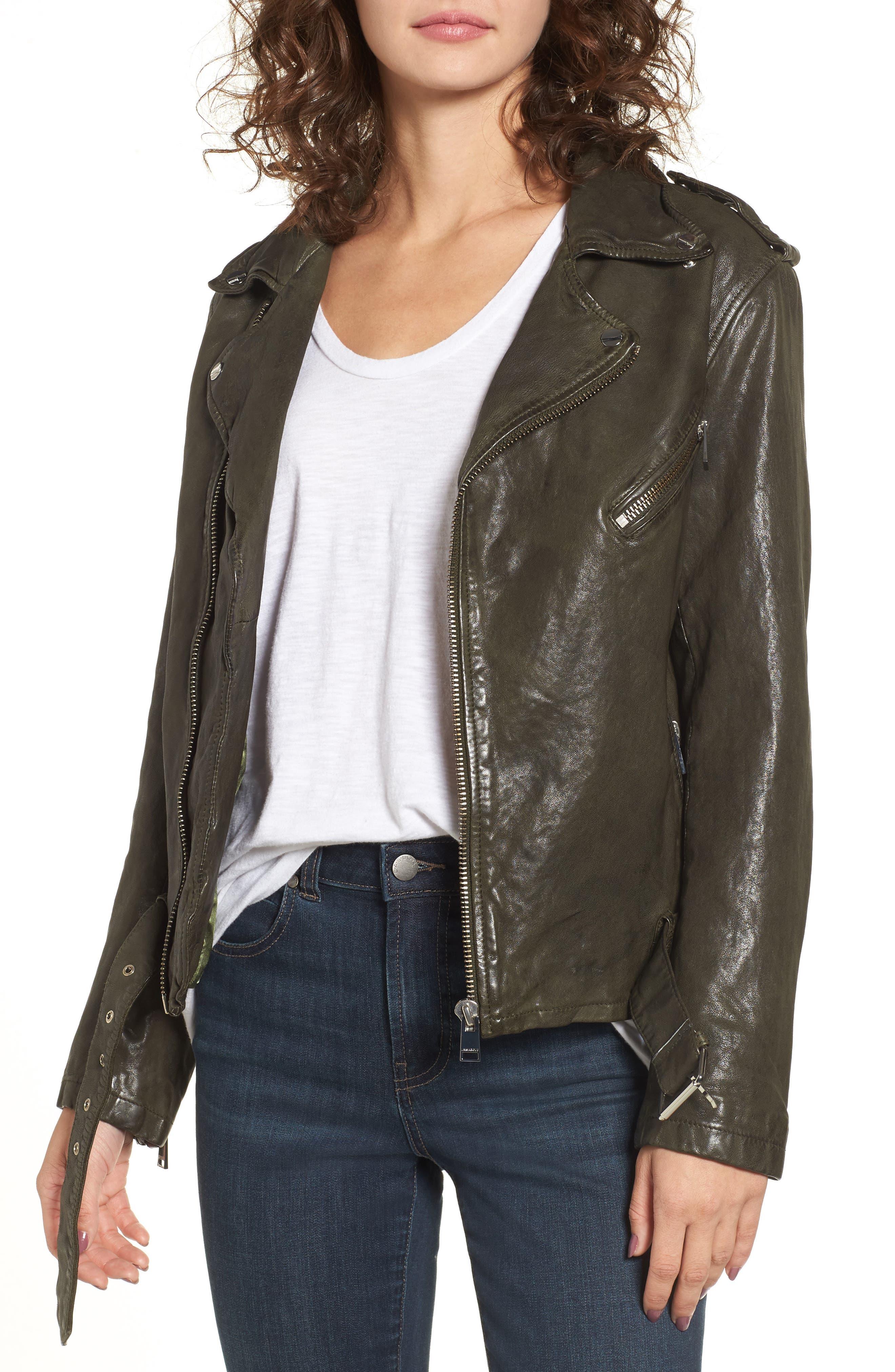 LAMARQUE Washed Lambskin Leather Moto Jacket